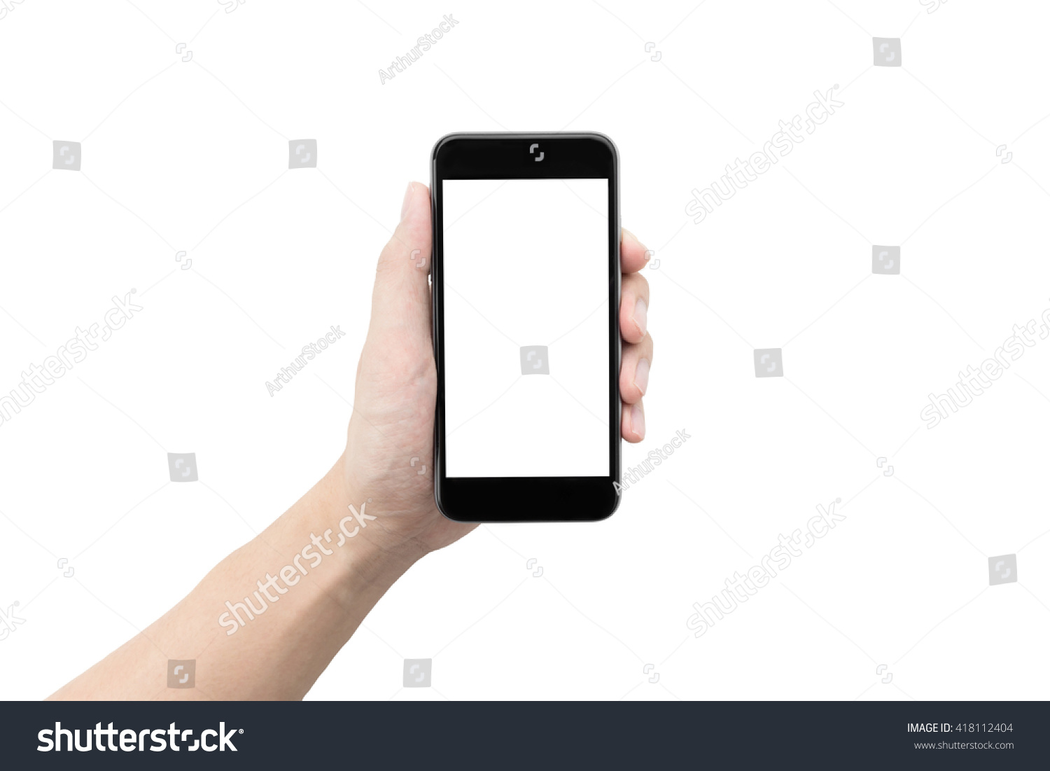 A man holding a smartphone with white blank screen to montage your application isolated on white background. #418112404