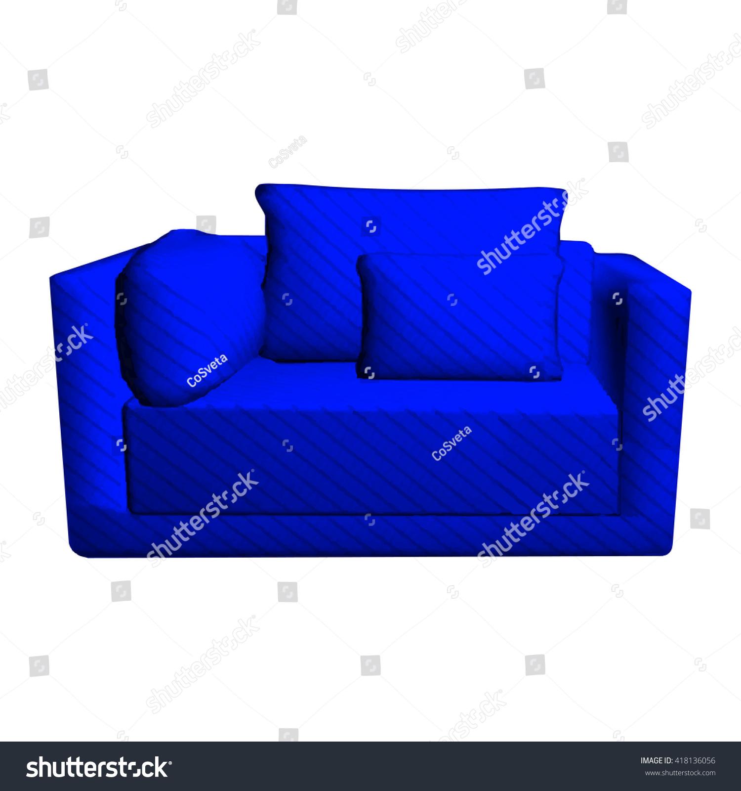 Vector Leather Blue Sofa Pillows Isolated Stock Vector