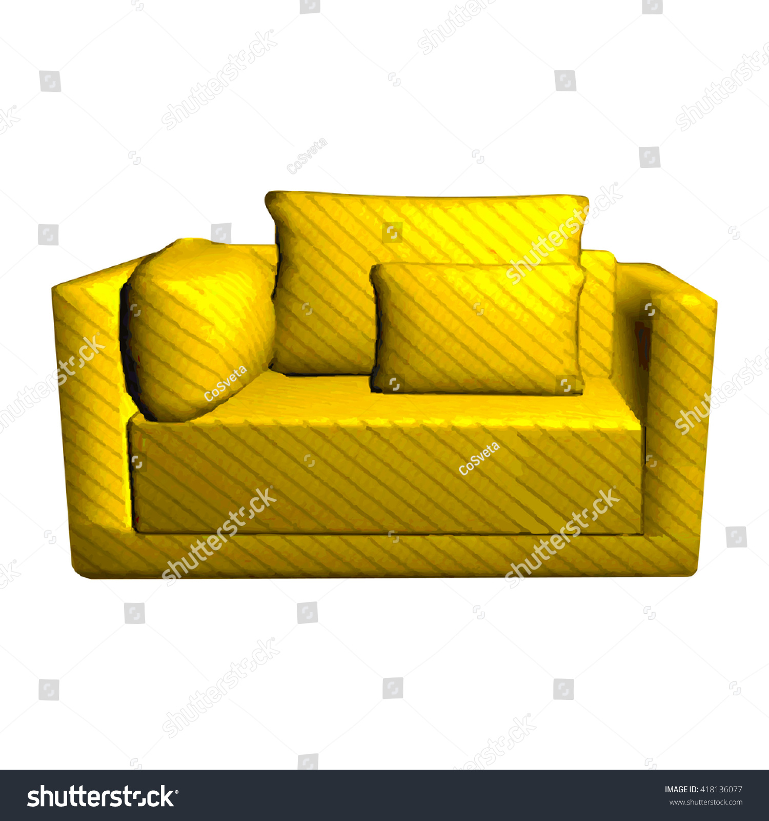 Cushioned Yellow Leather Sofa 3d: Vector Leather Yellow Sofa Pillows Isolated Stock Vector