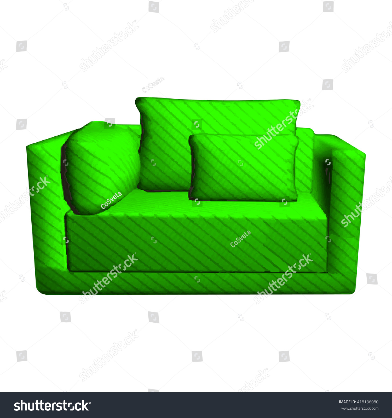 Vector Leather Green Sofa Pillows Isolated Stock Vector