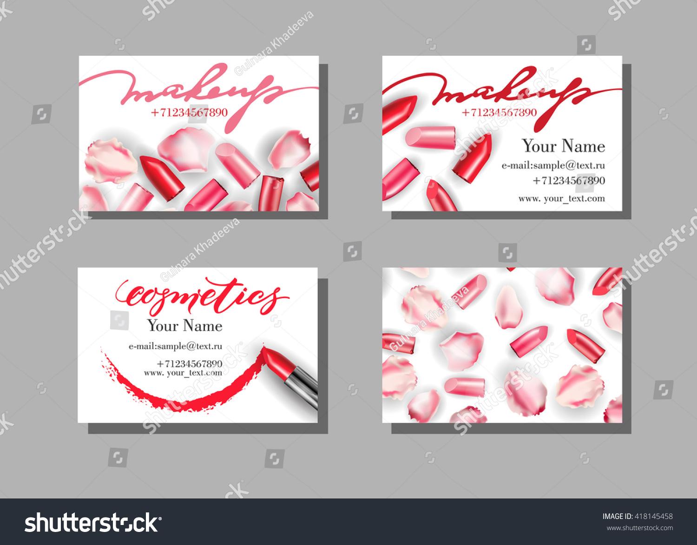 Makeup Artist Business Card Vector Template Stock Vector 418145458 ...