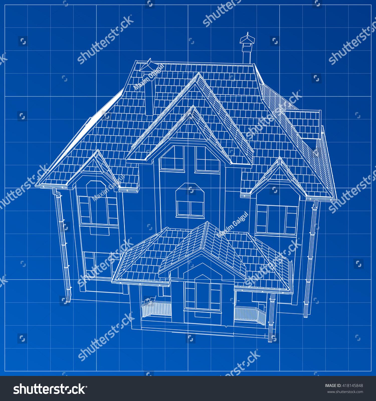 Wireframe blueprint drawing 3 d building vector vector de wireframe blueprint drawing 3 d building vector vector de stock418145848 shutterstock malvernweather Gallery