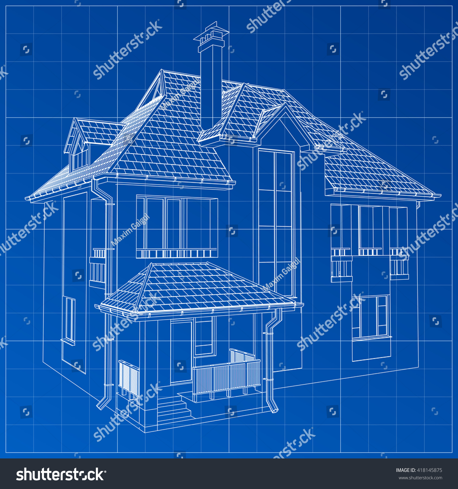Wireframe blueprint drawing 3d building vector stock for Architecture blueprint