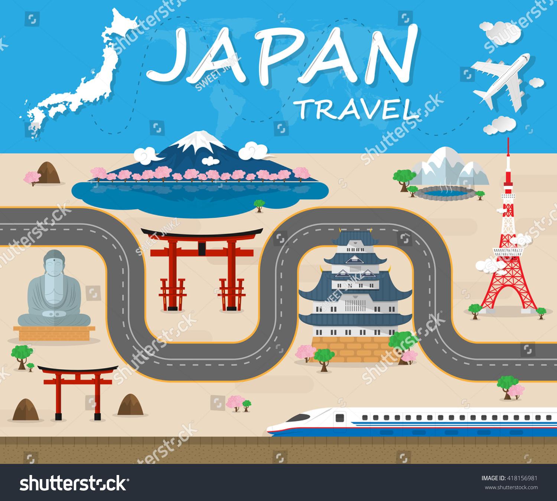 Japan Travel Background Landmark Global Travel Stock Vector ...