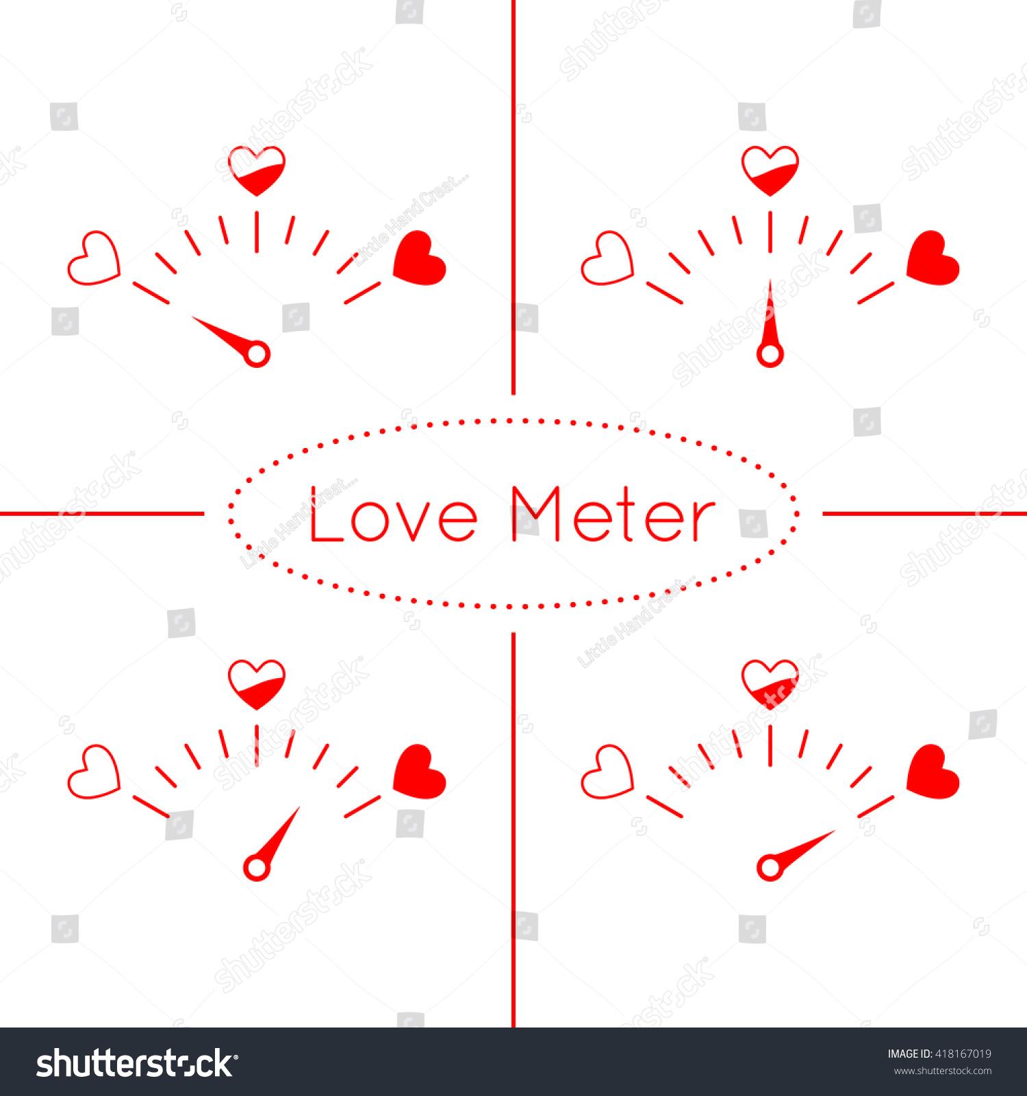 Love Meter Vector Set Heart Symbols Stock Vector Royalty Free