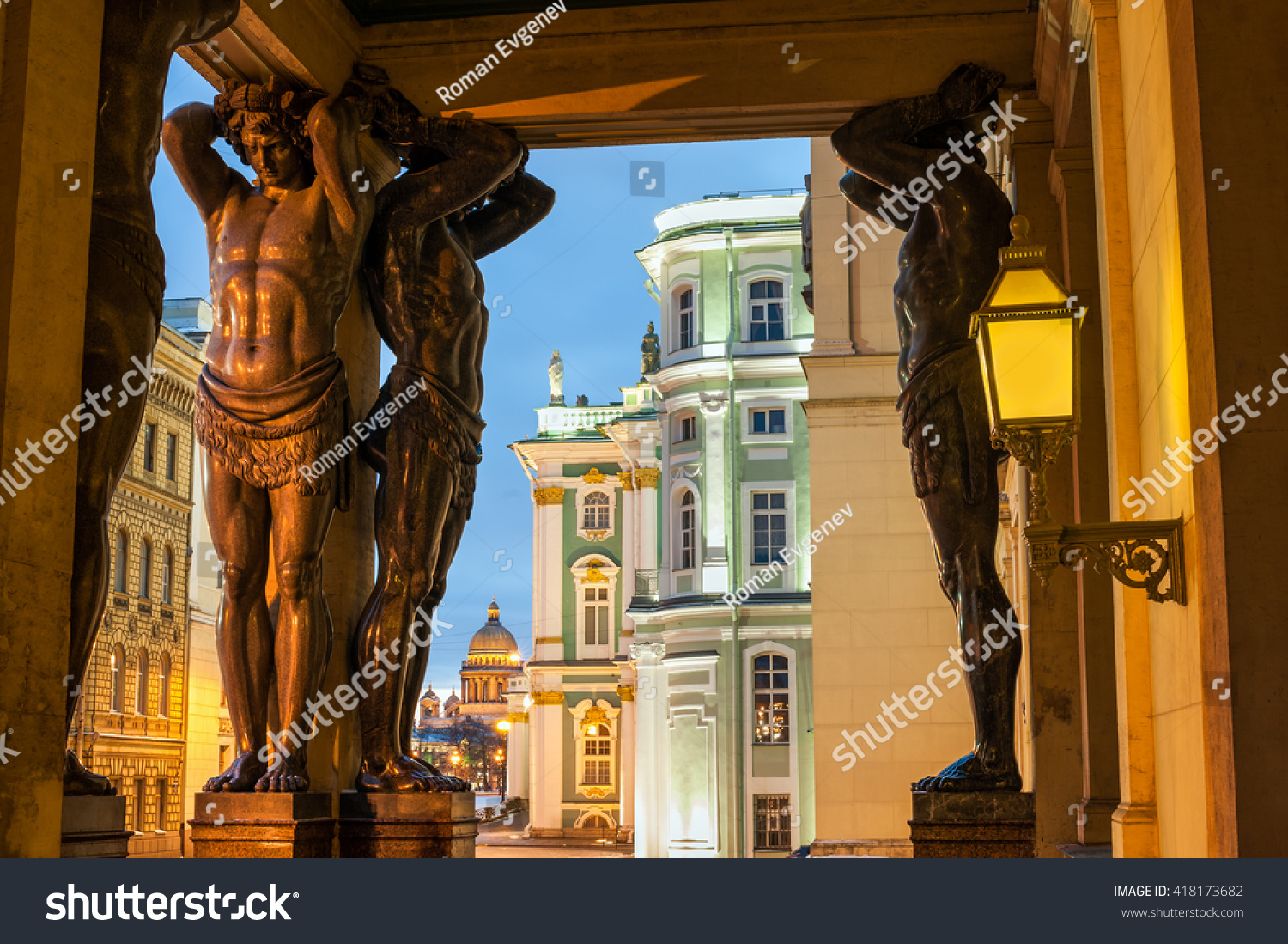 Statues of Atlantes neat the Hermitage St Petersberg Russia