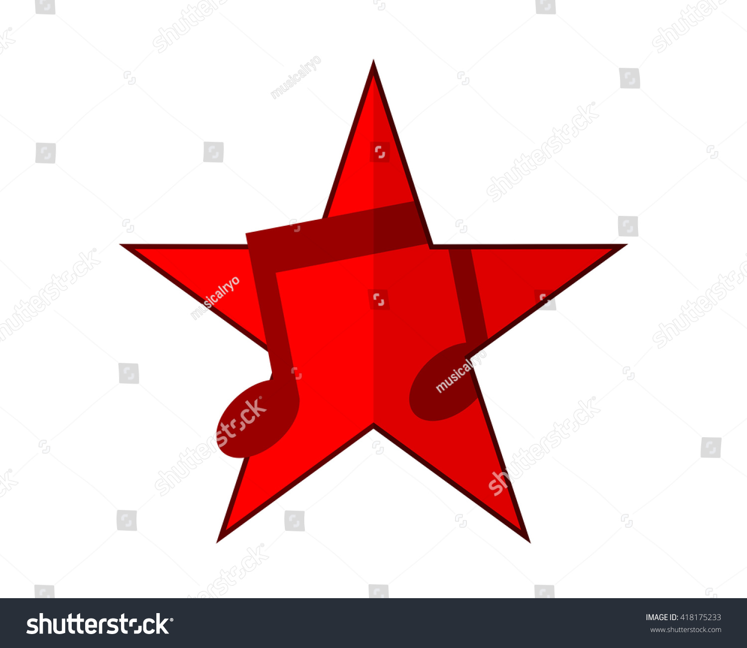 red star musical notes tone tune stock vector 418175233 shutterstock rh shutterstock com Single Music Notes Music Notes Background