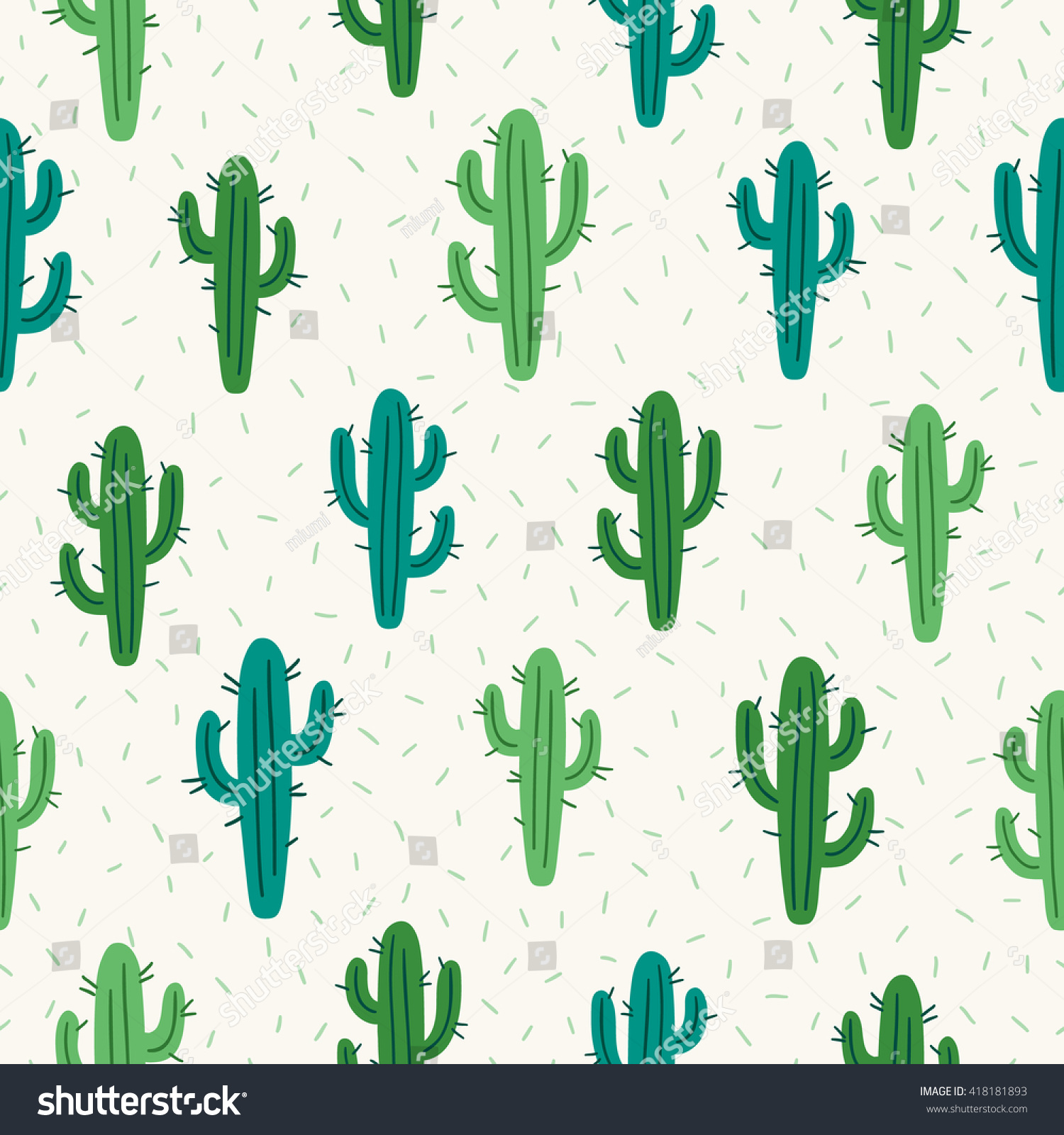 Seamless Pattern Cactus On White Background Image Vectorielle De