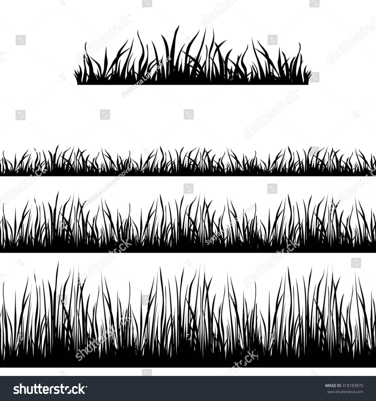 Seamless Grass Black Silhouette Vector Brushes Stock Vector ...
