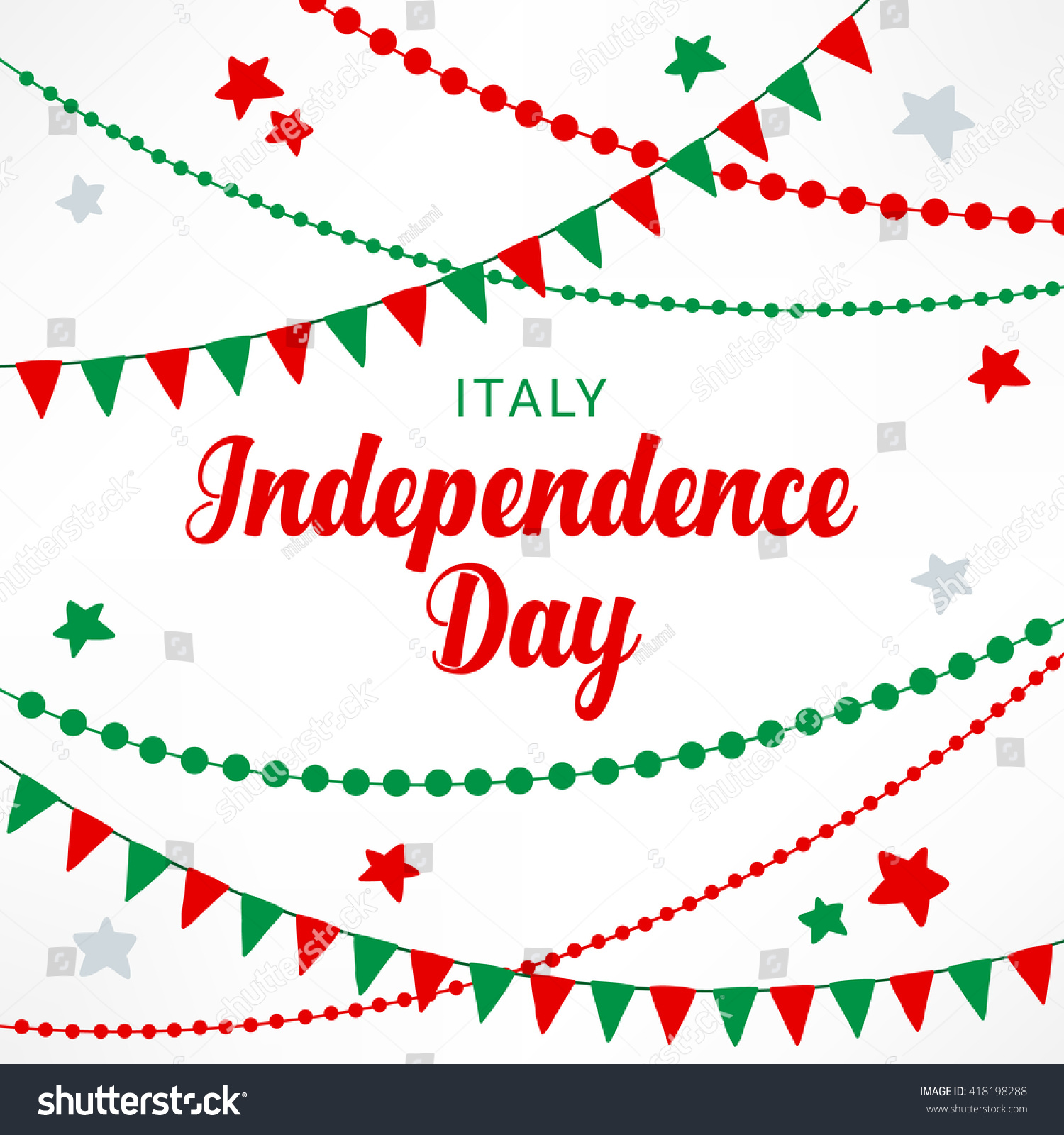 Italy Independence Day Greeting Card Flags Stock Vector (Royalty ...