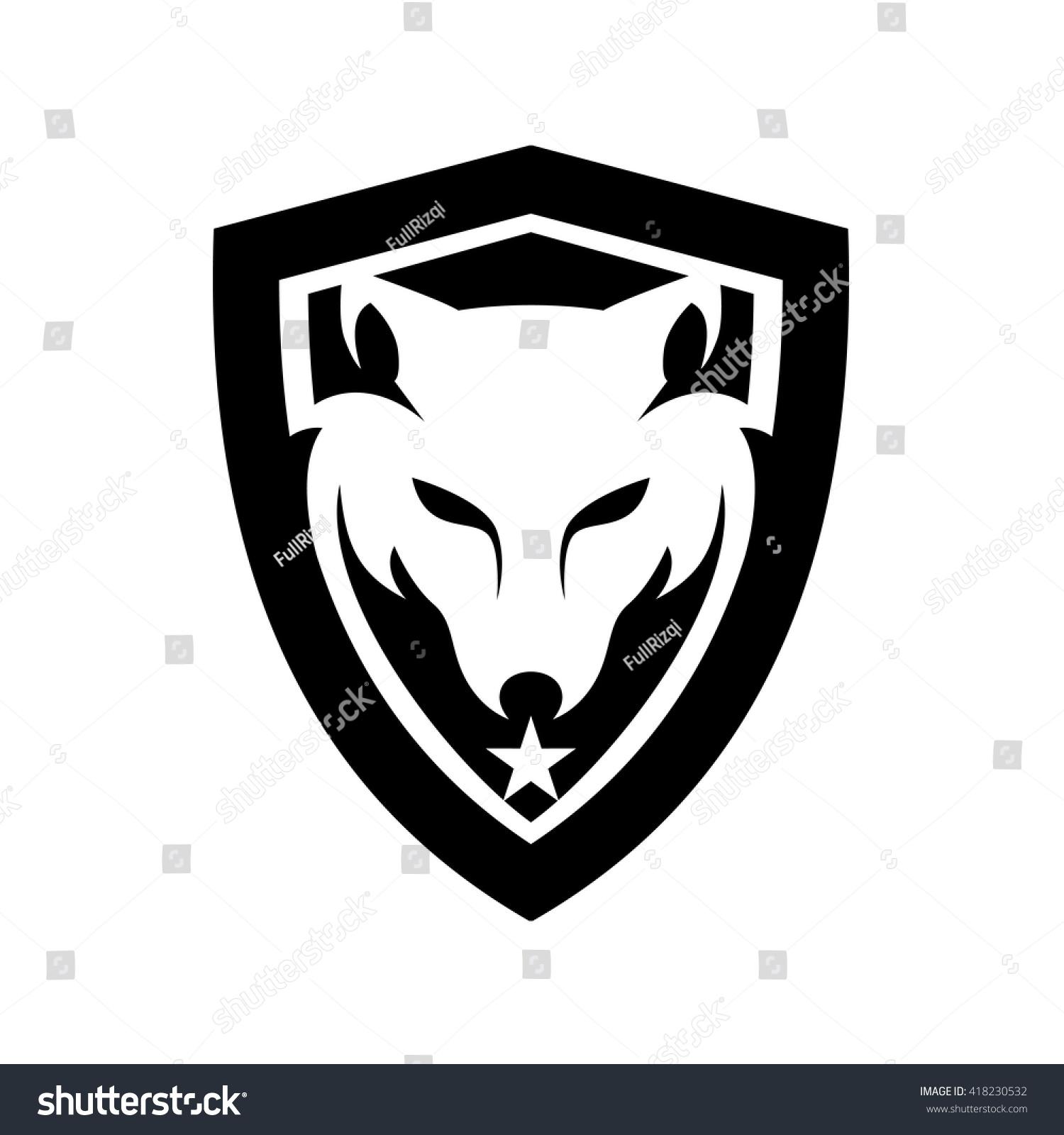 wolf head shield logo stock vector 418230532 shutterstock