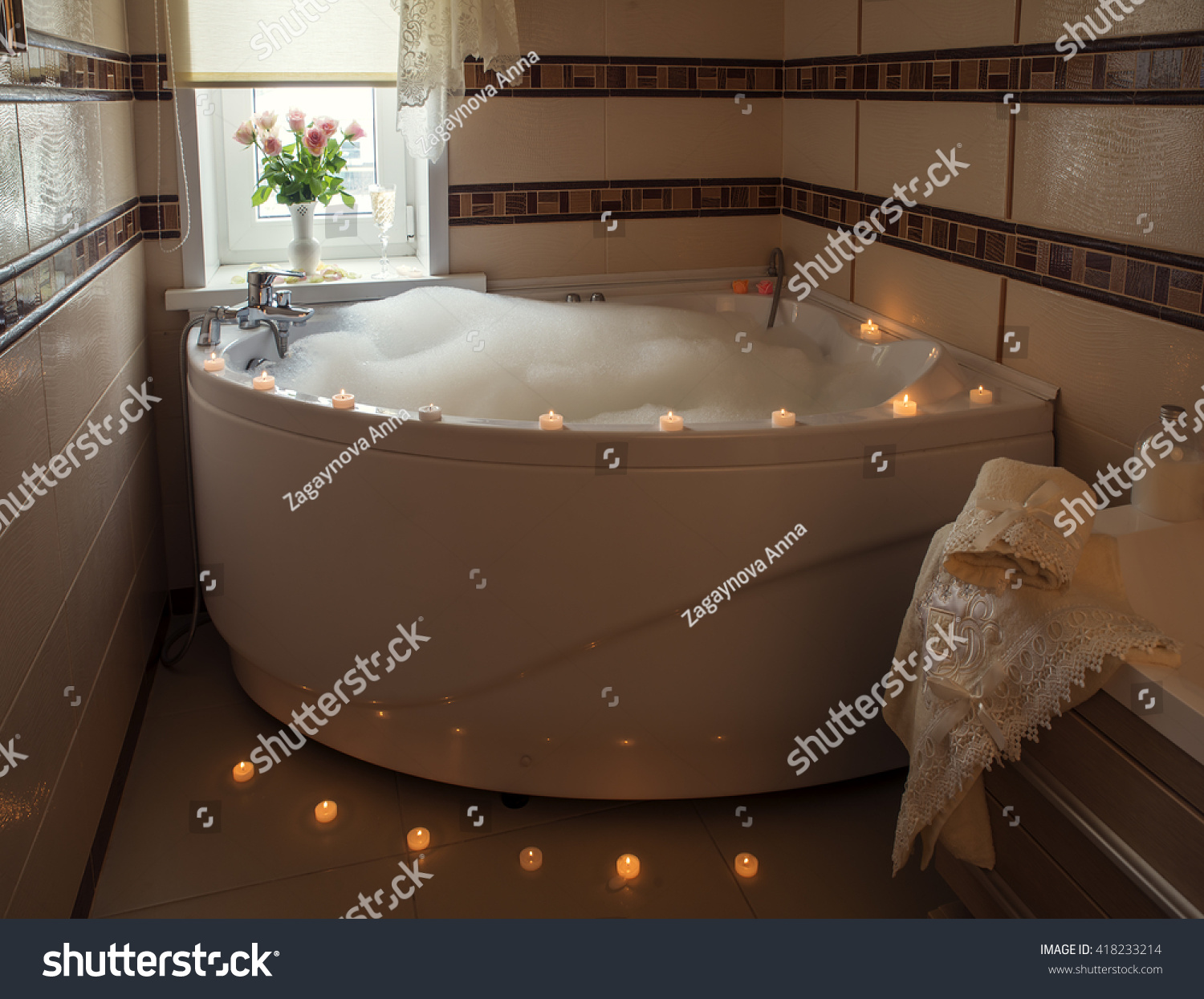 Luxury Jacuzzi Bubble Bath Candles Flowers Stock Photo (Royalty Free ...