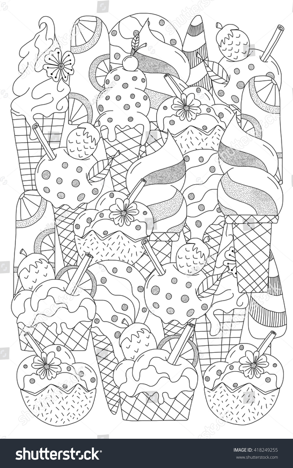 Ice cream hand drawn ethnic patterned in doodle zentangle style coloring book page for adults and child zendala design for relax and meditation
