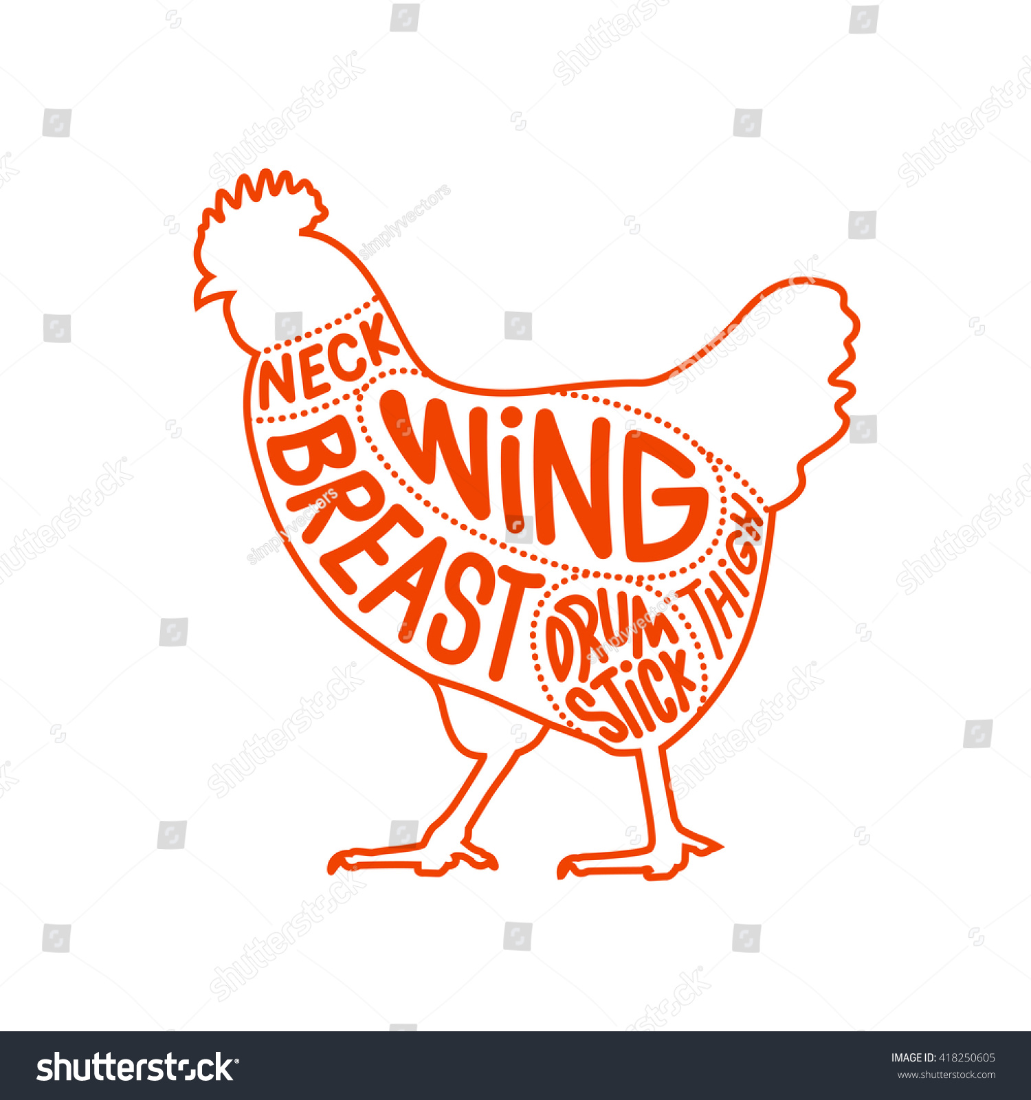 Chicken Meat Part Cuts Diagram Butcher Stock Vector Royalty Free For Shop Facing Left Illustration Outline