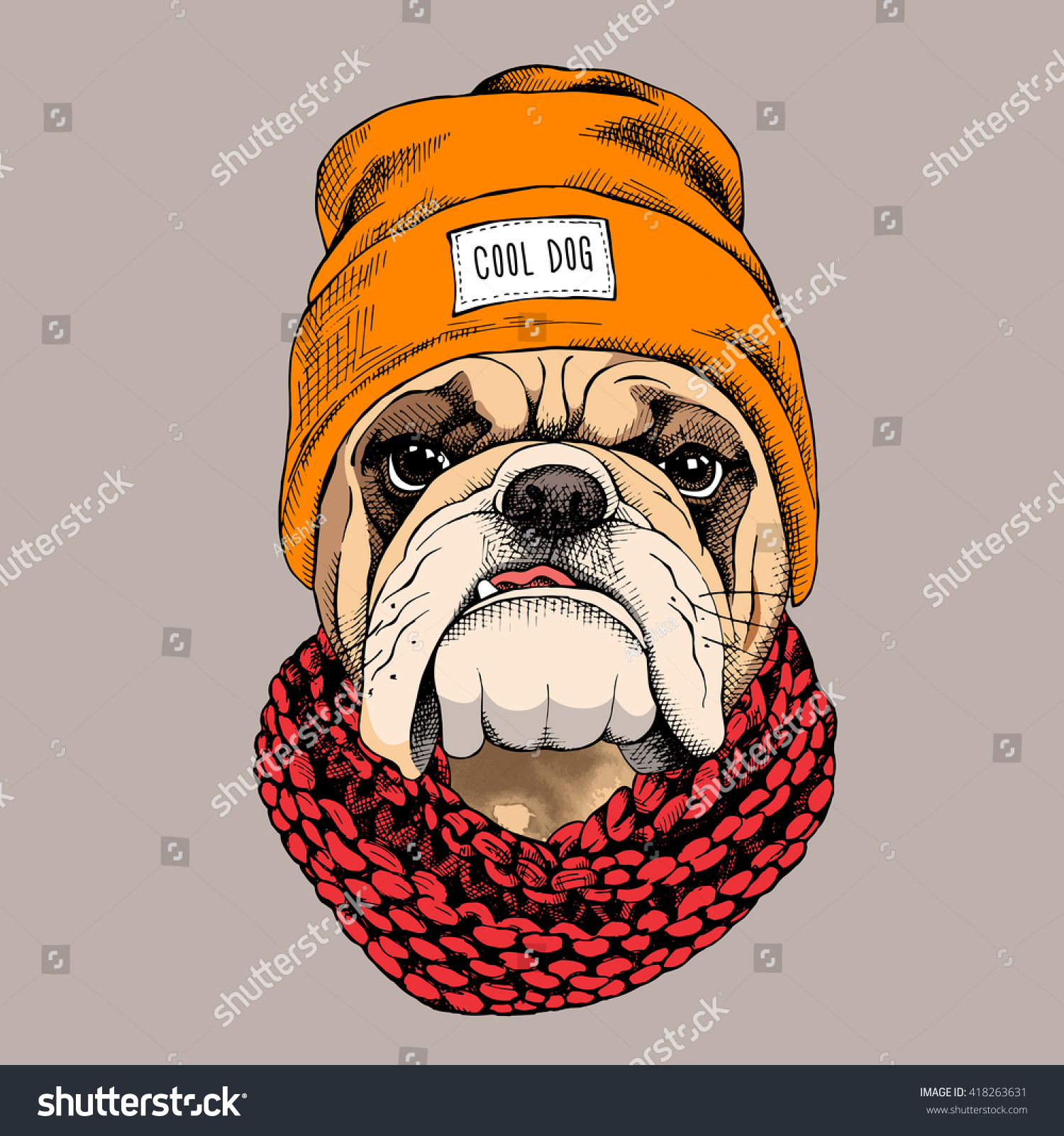 Bulldog Portrait Hipster Hat Knitted Scarf Stock Vector ...