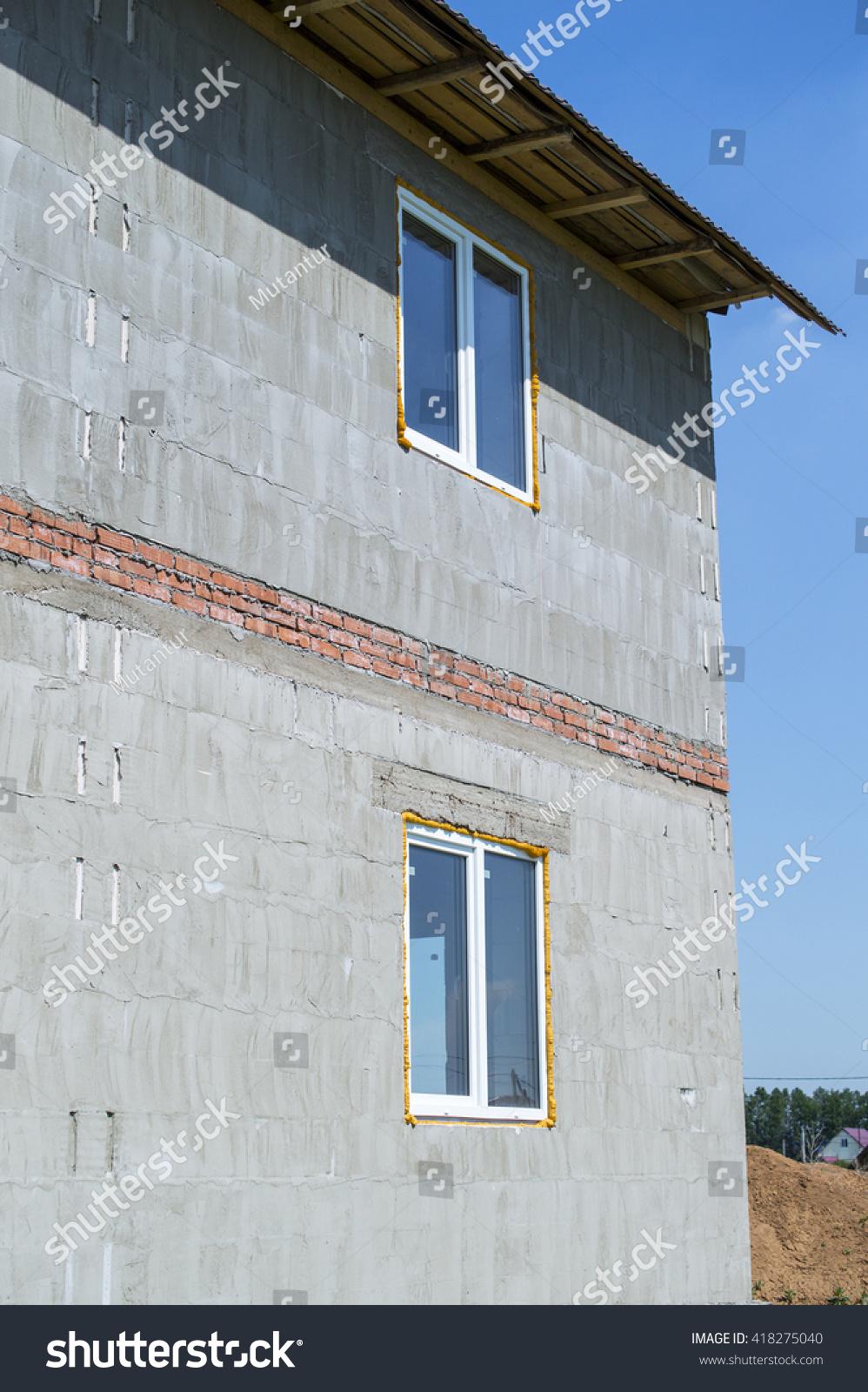 Sensational House Foam Concrete Blocks Roof Windows Stock Photo Edit Home Interior And Landscaping Mentranervesignezvosmurscom