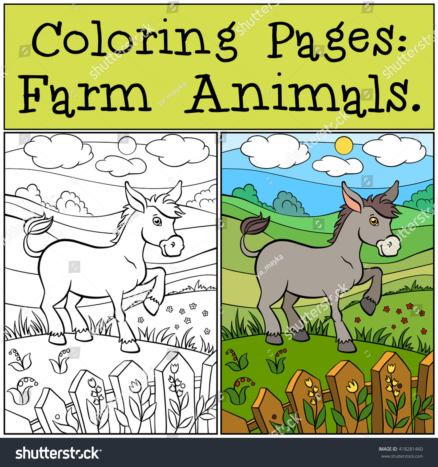 Coloring Pages Farm Animals Little Cute Stock Vector 418281460 ...