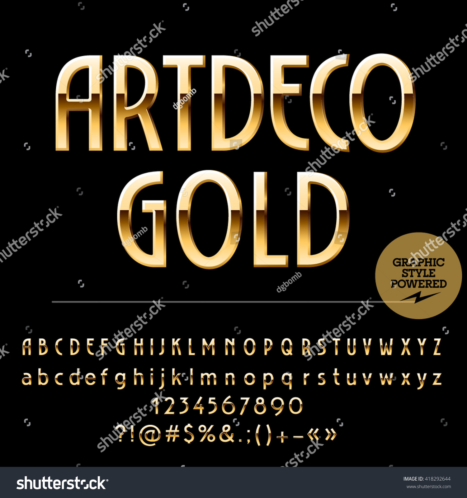 vector set of beautiful gold alphabet letters numbers and punctuation symbols art deco thin