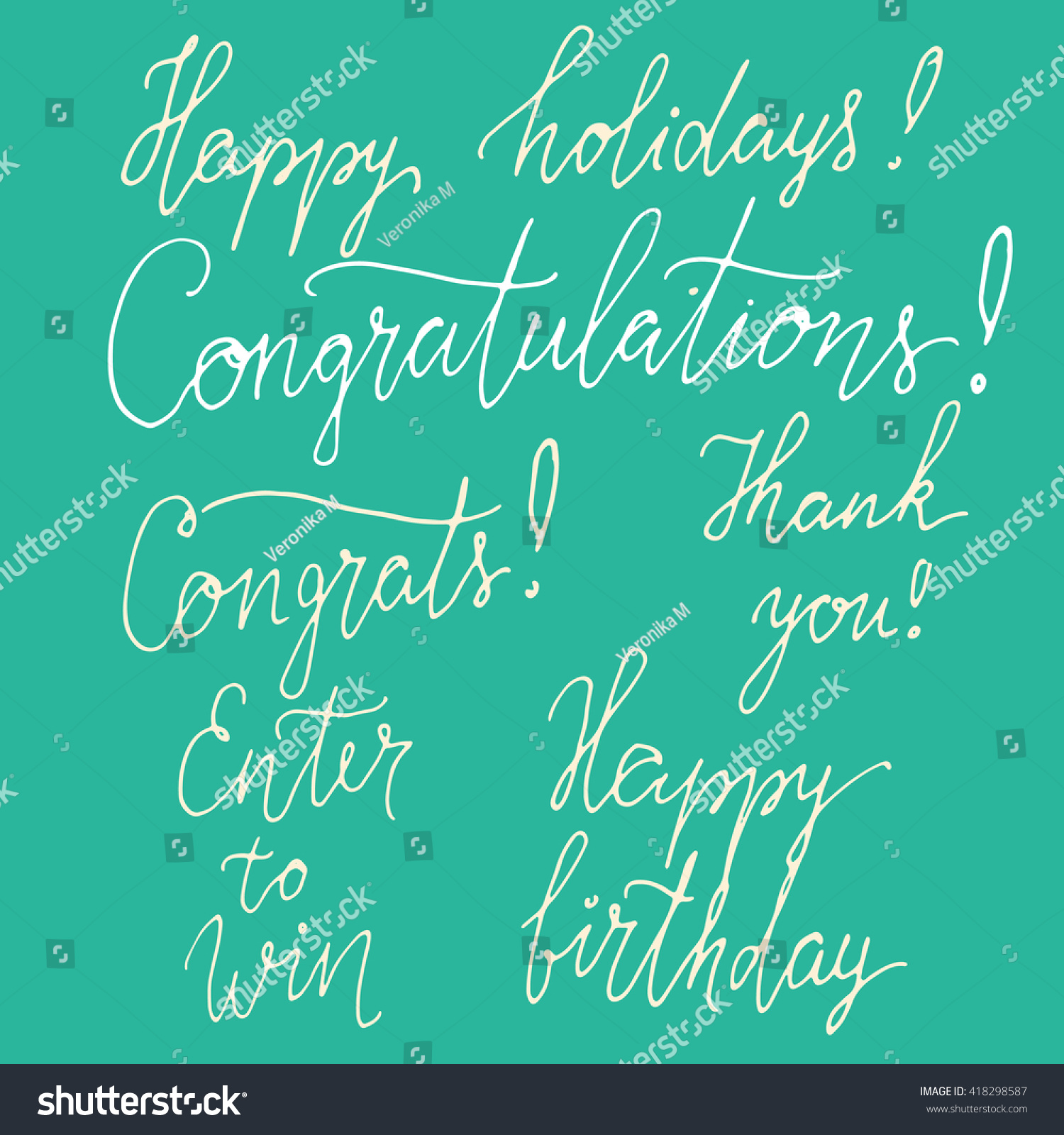 set congratulation signs happy birthday card stock vector set of congratulation signs happy birthday card enter to win vector hand drawn