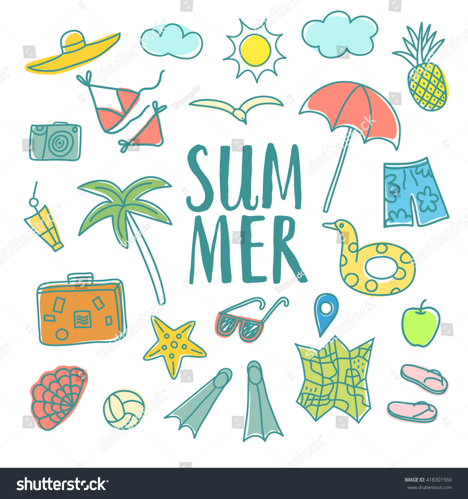 Uncategorized Drawings Of Summer summer vacation cartoon drawings including doodle stock vector map palm camera swimwear sunglasses and