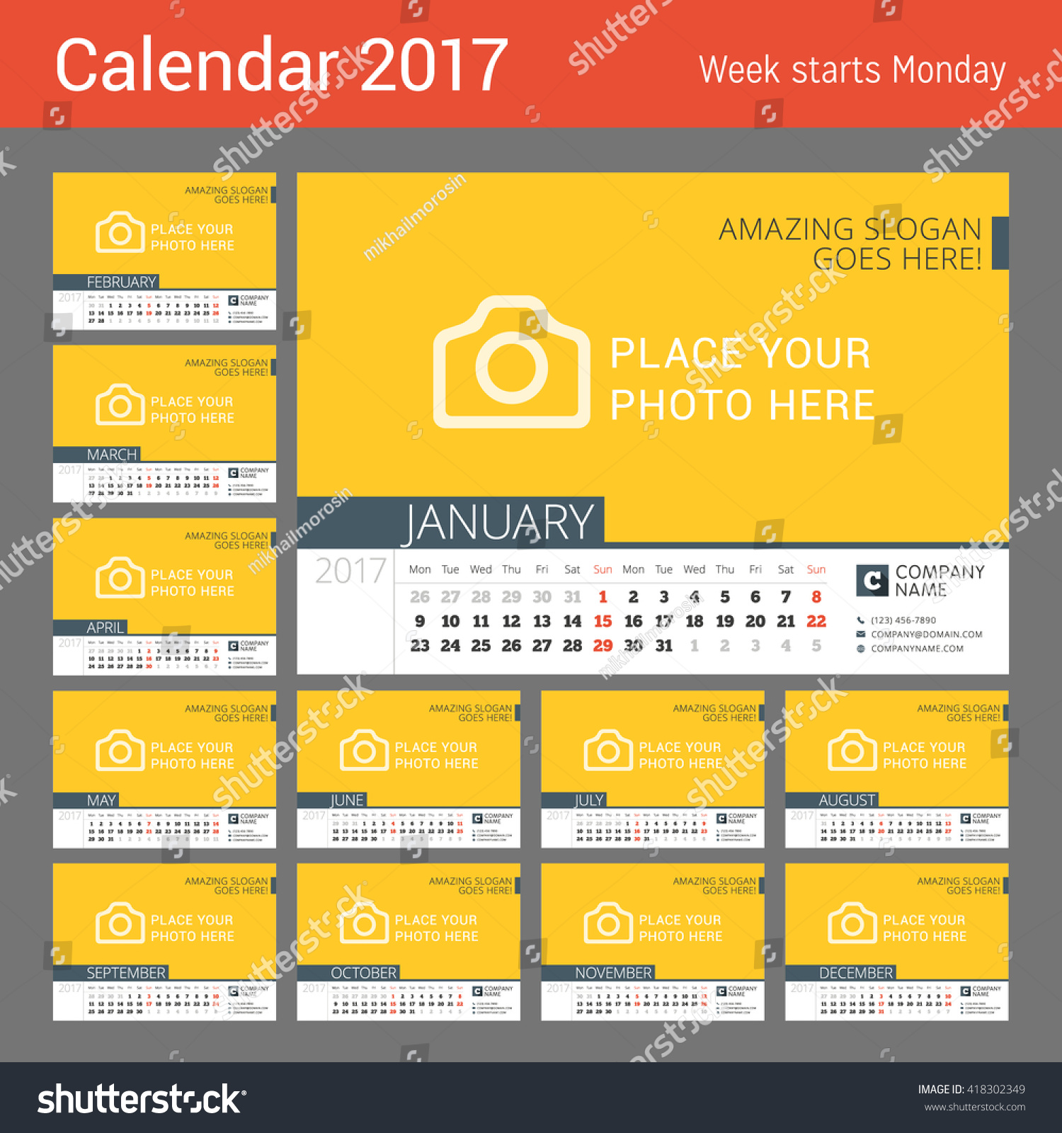 Desk Calendar for 2017 Year Vector Design Print Template with Place for Week