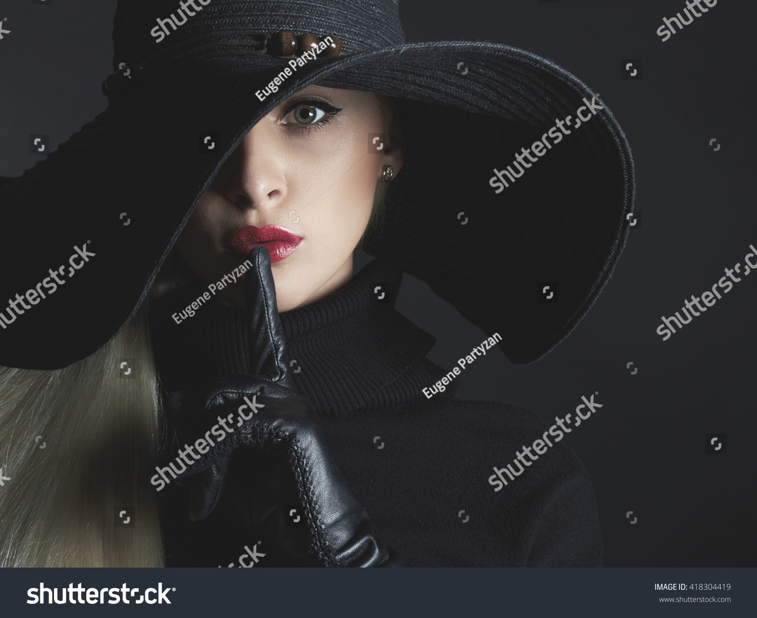 c609dc3daf5 Beautiful woman in hat and leather gloves. Retro fashion model girl ...