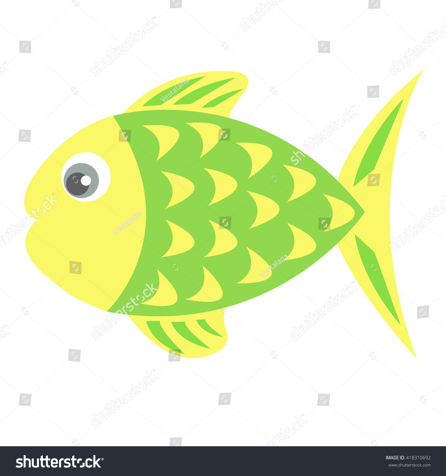 Color Single Vector Fish Stock Vector 418310692 - Shutterstock