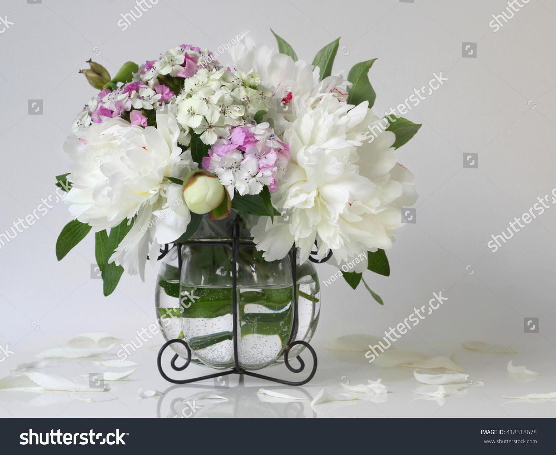 Bouquet White Peony Flowers Vase Floral Stock Photo Edit Now