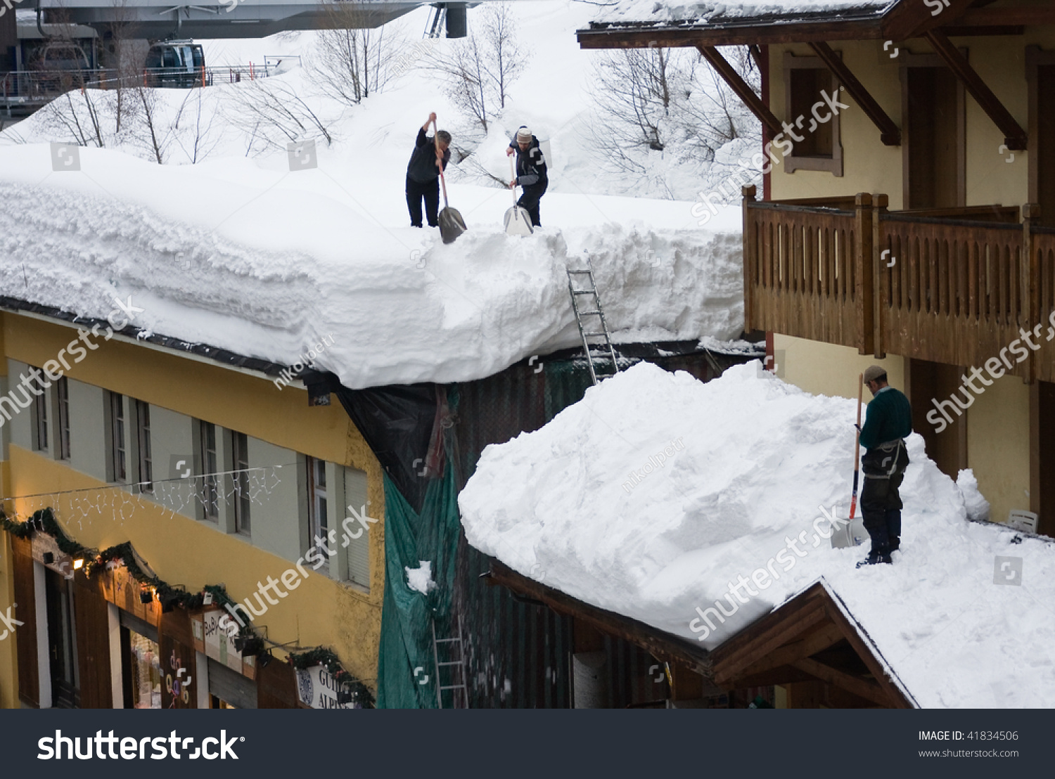 Snow Removal From Roof Stock Photo 41834506 Shutterstock