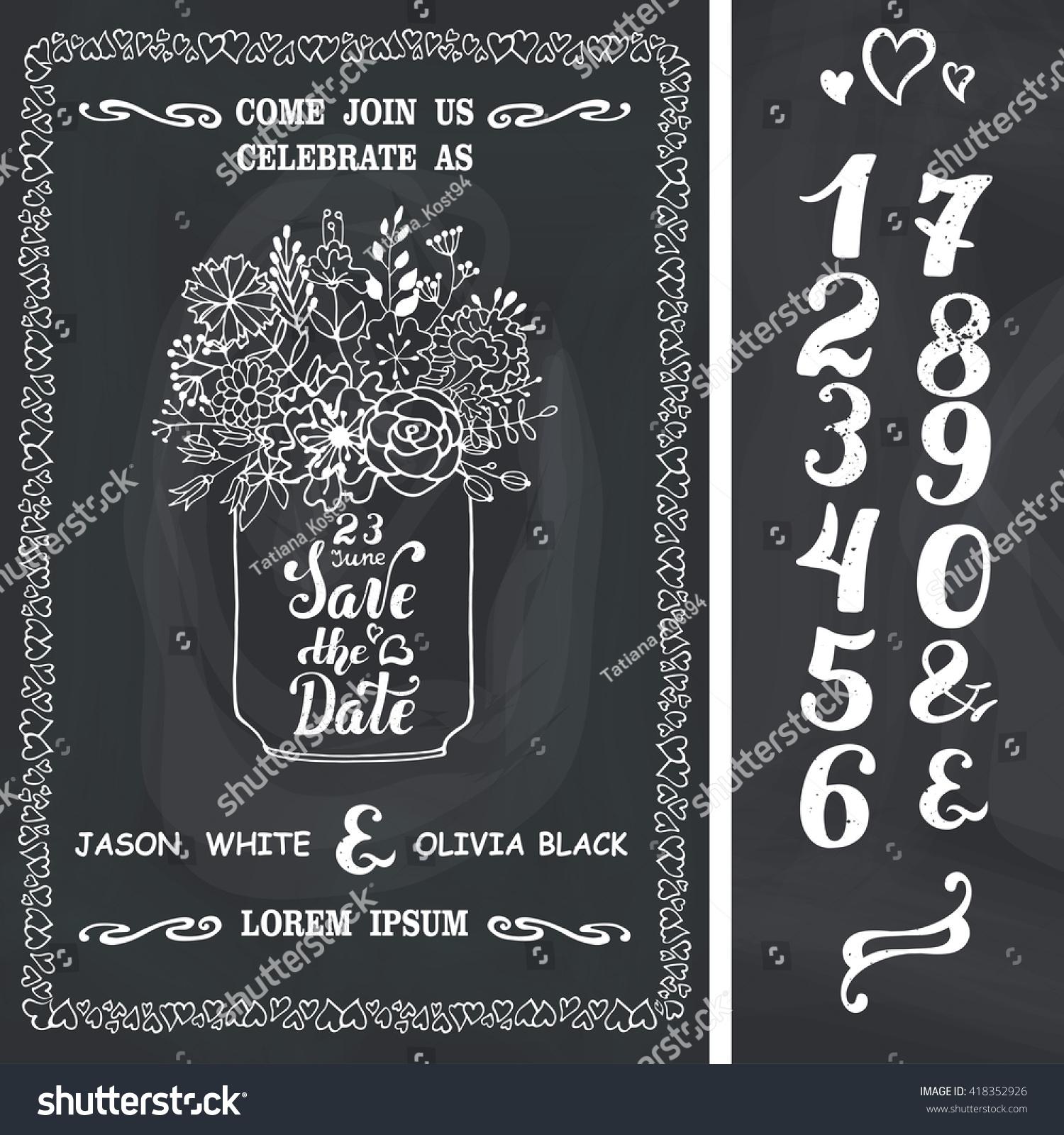 Wedding Save Date Wedding Invitation Card Doodle Stock Vector (2018 ...
