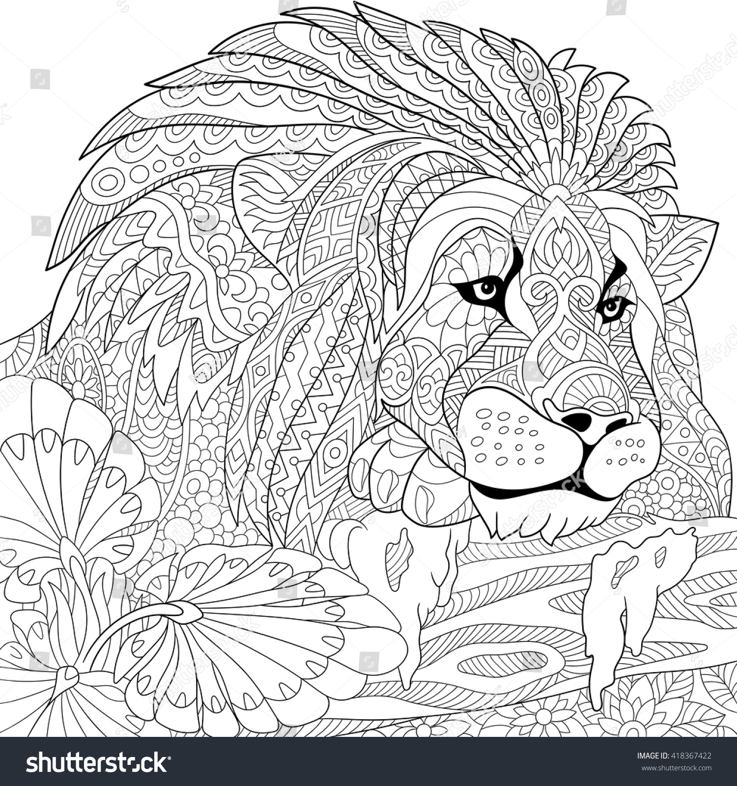 Zentangle Stylized Cartoon Lion Wild Cat Stock Vector