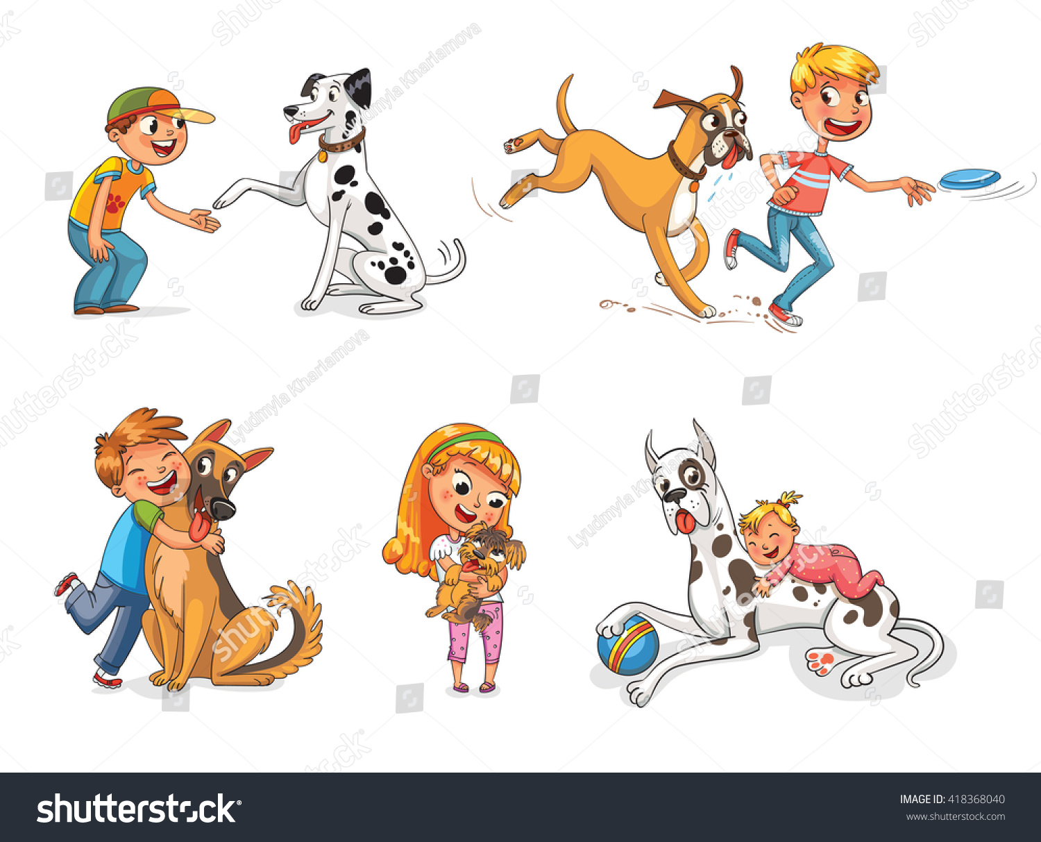 Cartoon dog stock photos images amp pictures shutterstock - Boxer Dog Playing With A Boy In A Frisbee