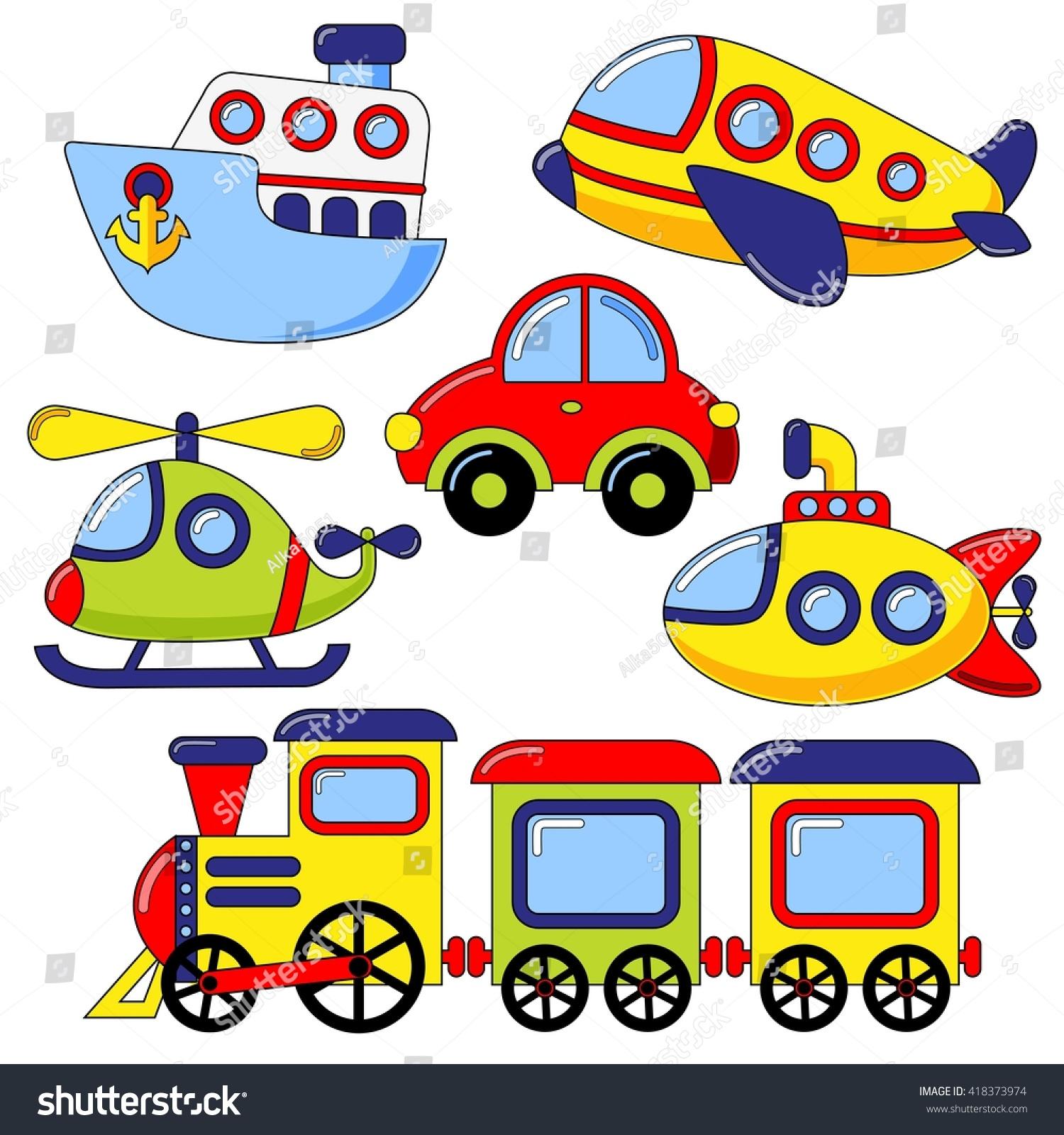 set cartoon transport icon car submarine stock vector 418373974