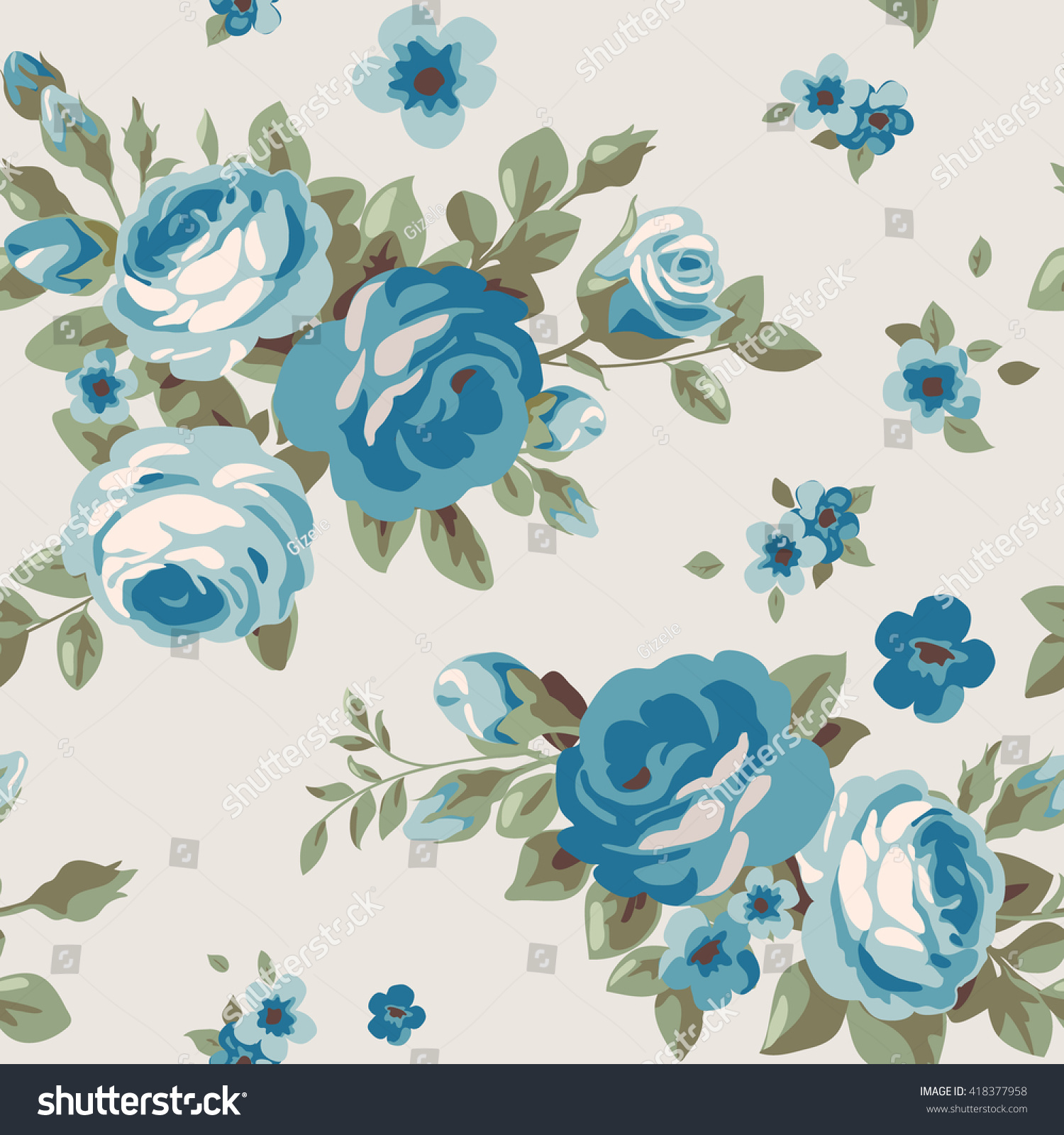 Seamless Pattern Blue Flowers Vintage Floral Stock Vector Royalty