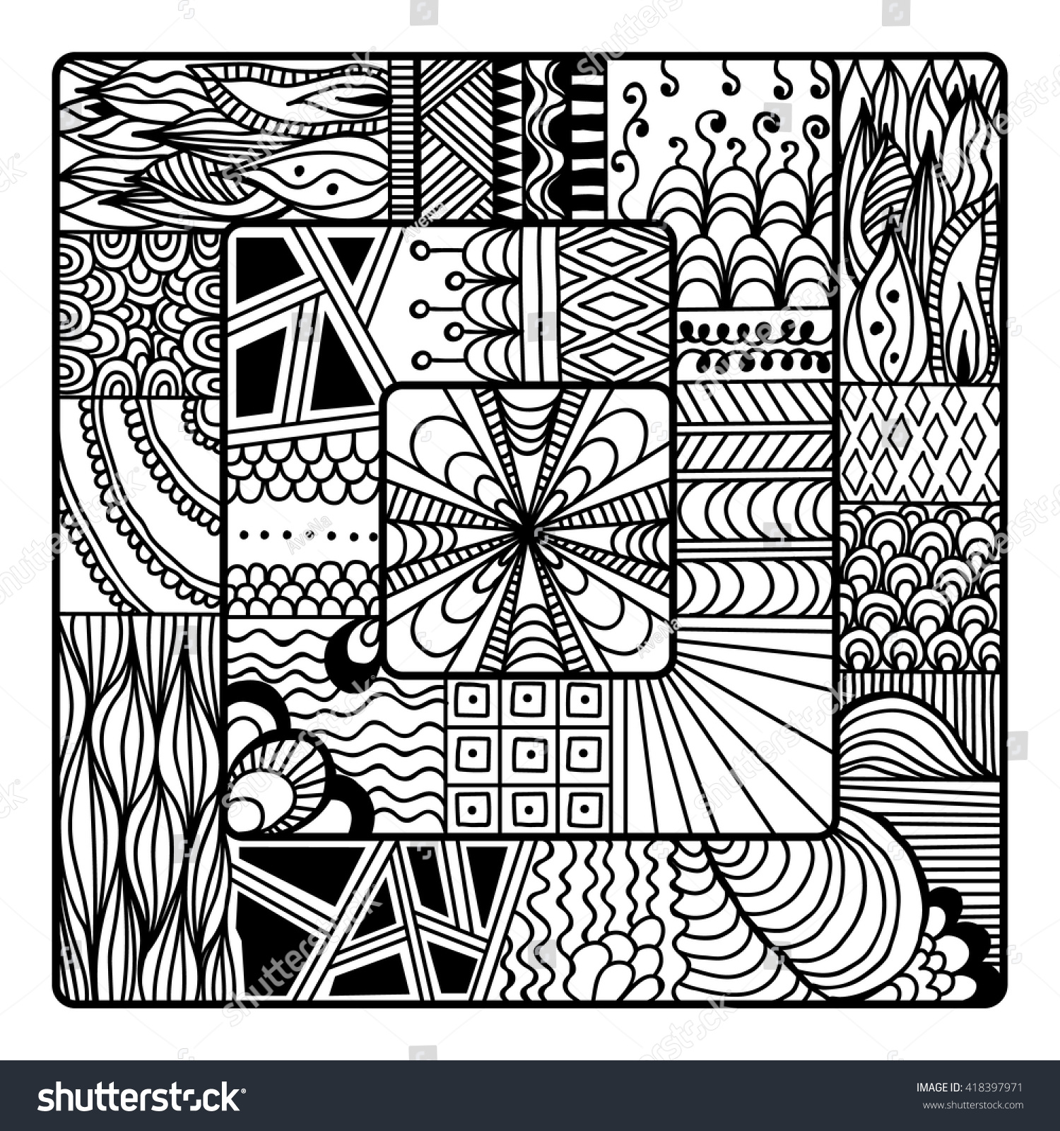 Square Zentangle Vector Art Coloring Book Stock Vector 418397971