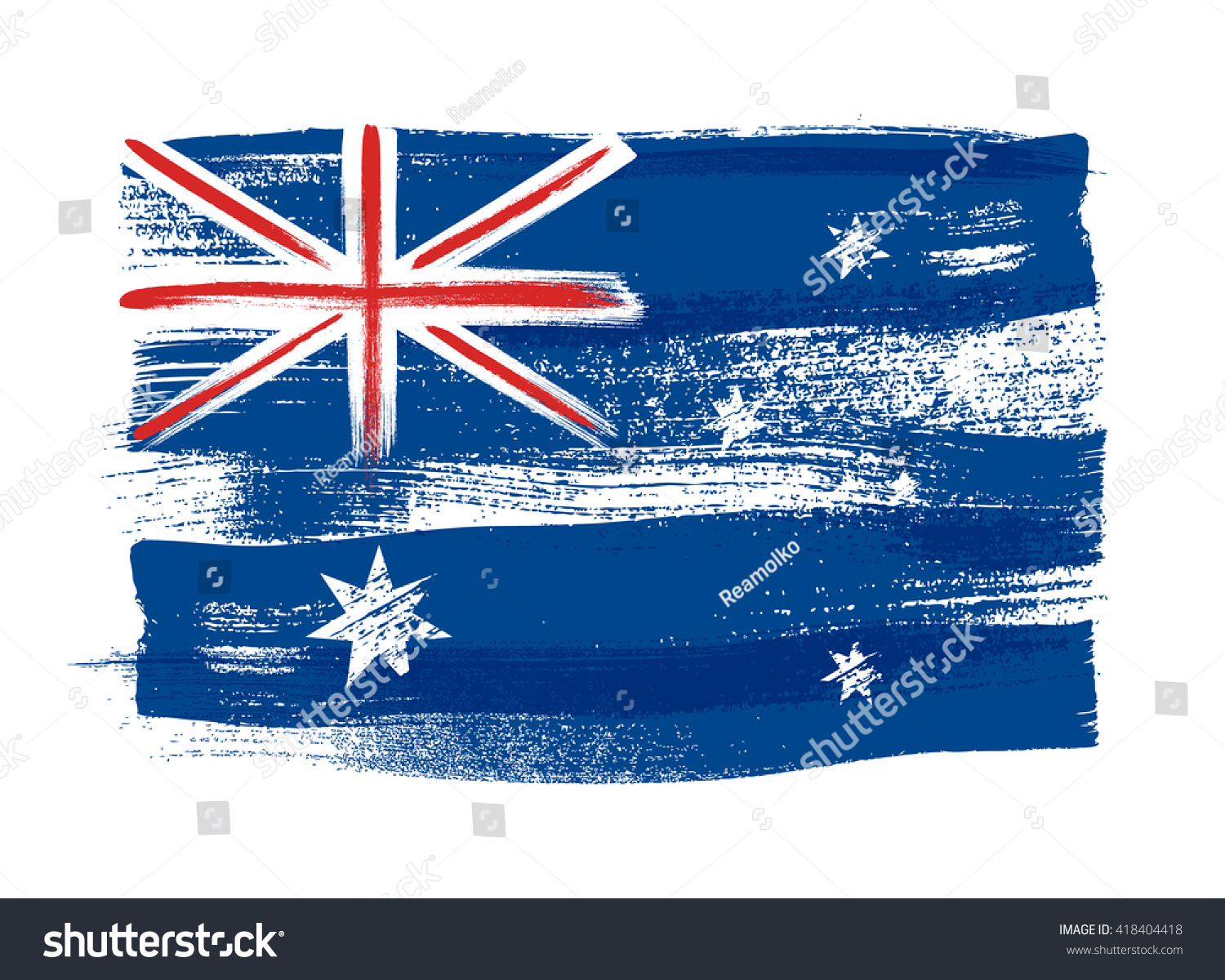 australia colorful brush strokes painted national stock vector