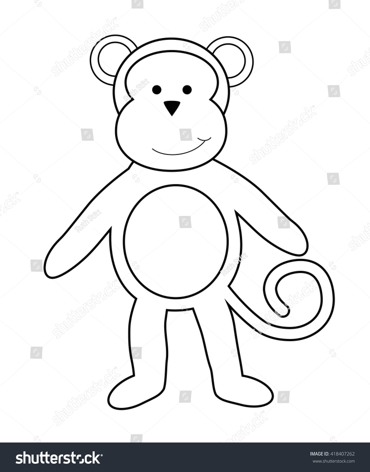 Monkey Coloring Page Stock Vector 418407262 - Shutterstock