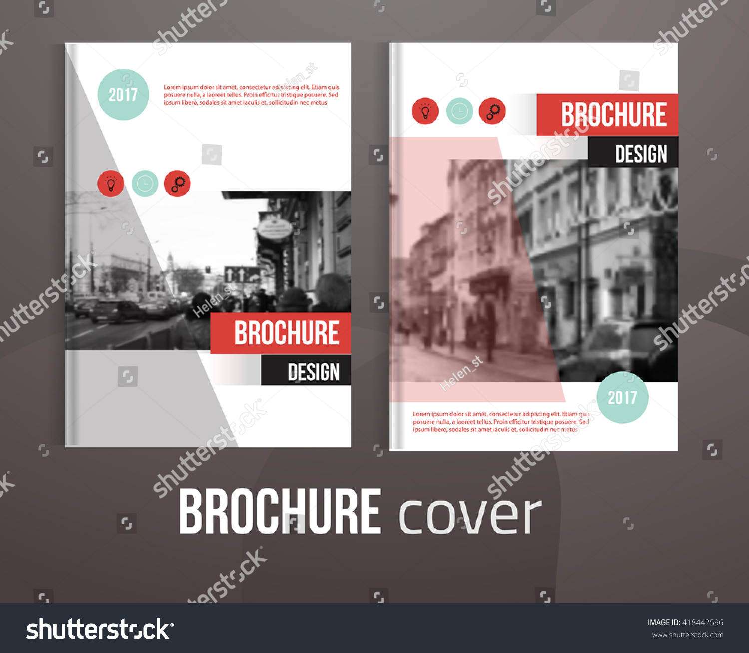 Set of Vector brochure cover templates with blured city landscape ...