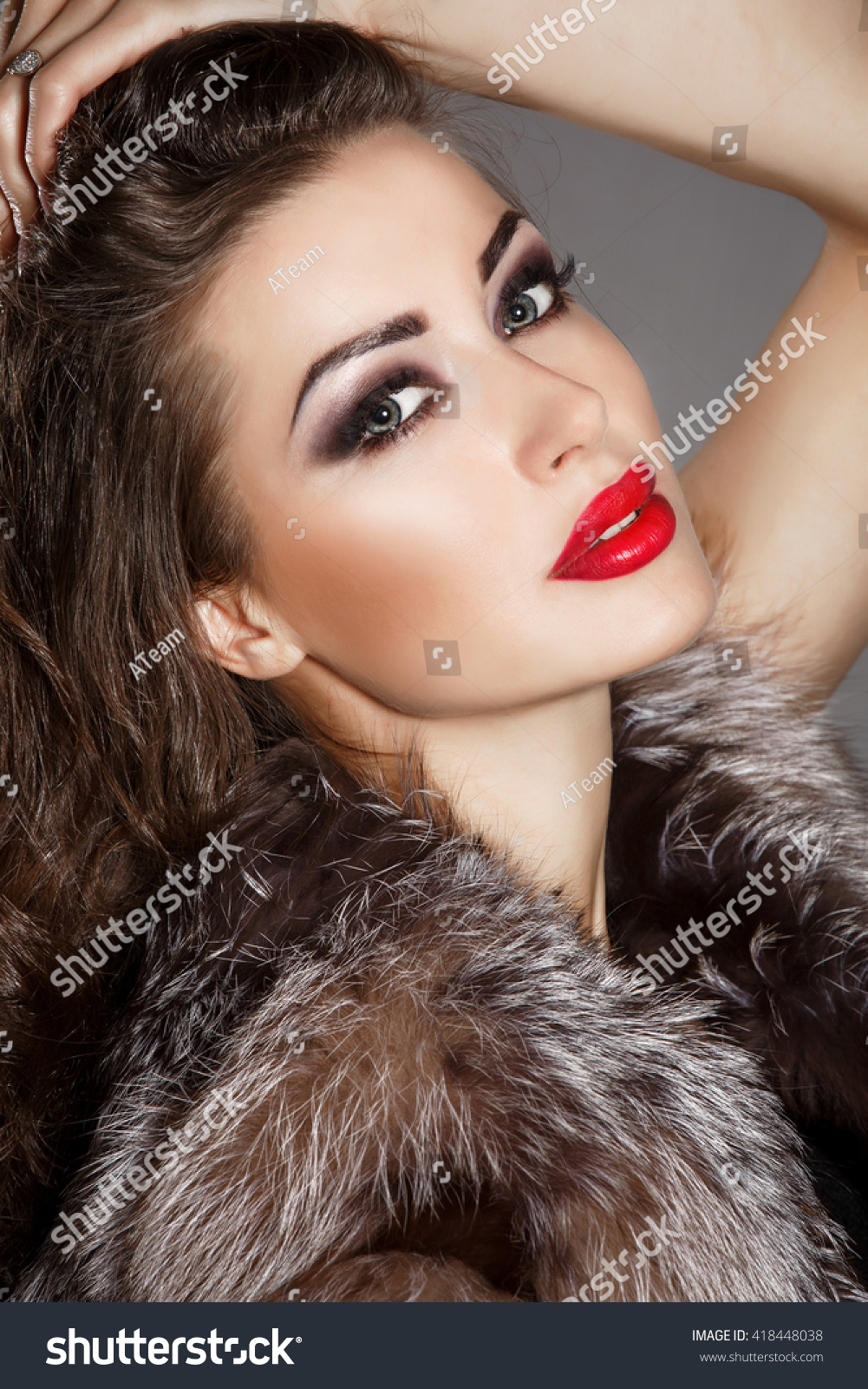 Bright Makeup Woman Red Lips Beauty Stock Photo Edit Now 418448038