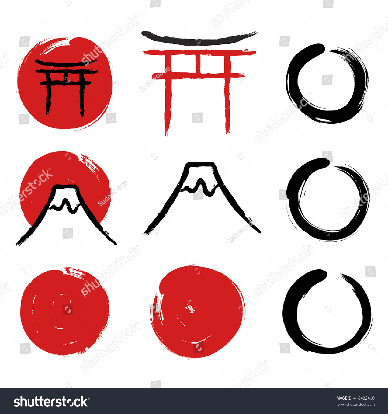 Set Handdrawn Traditional Japanese Symbols Red Stock ...