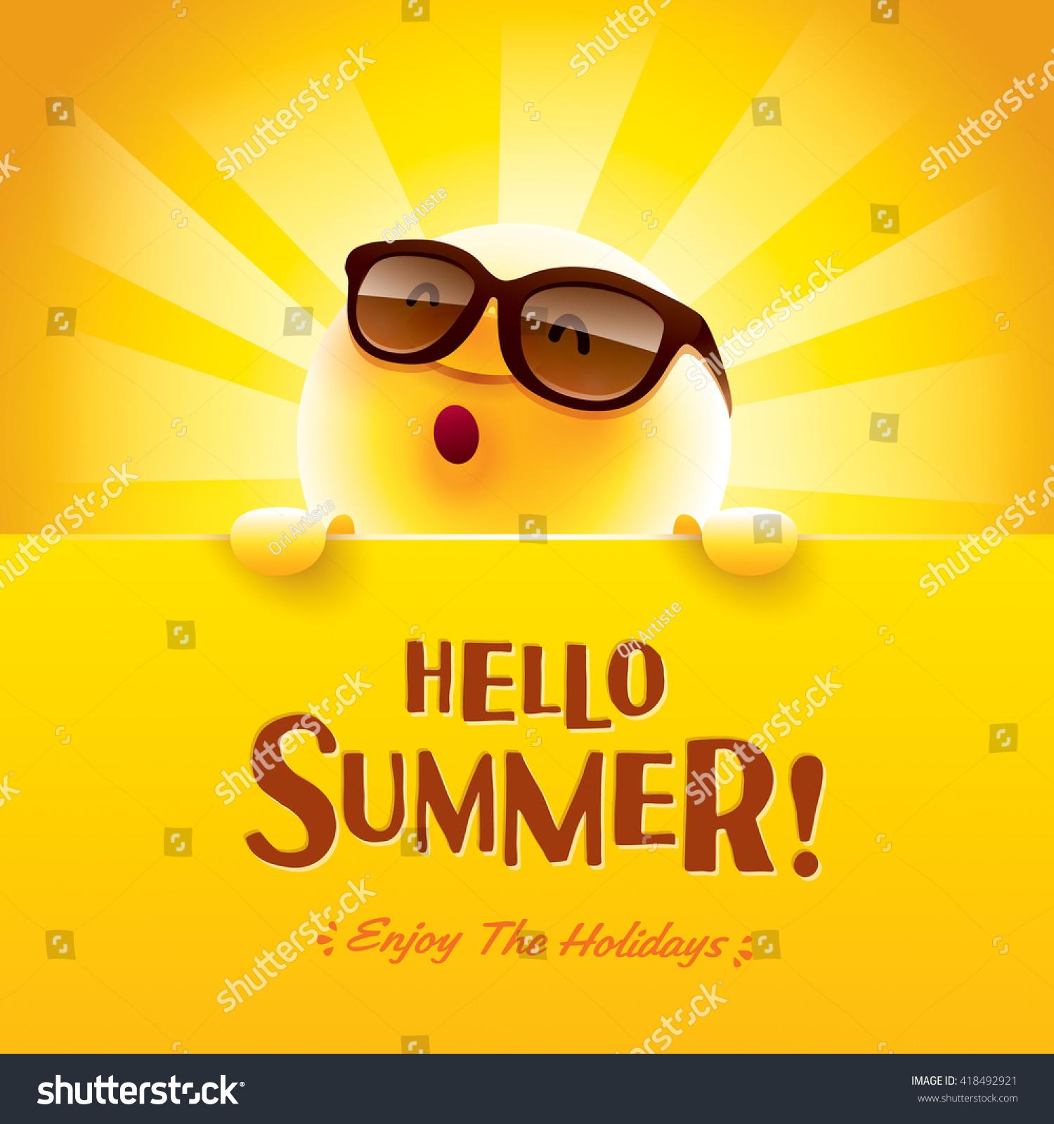 Couple Enjoying Their Summer Holidays Stock Photo: Hello Summer Enjoy Holidays Stock Vector 418492921