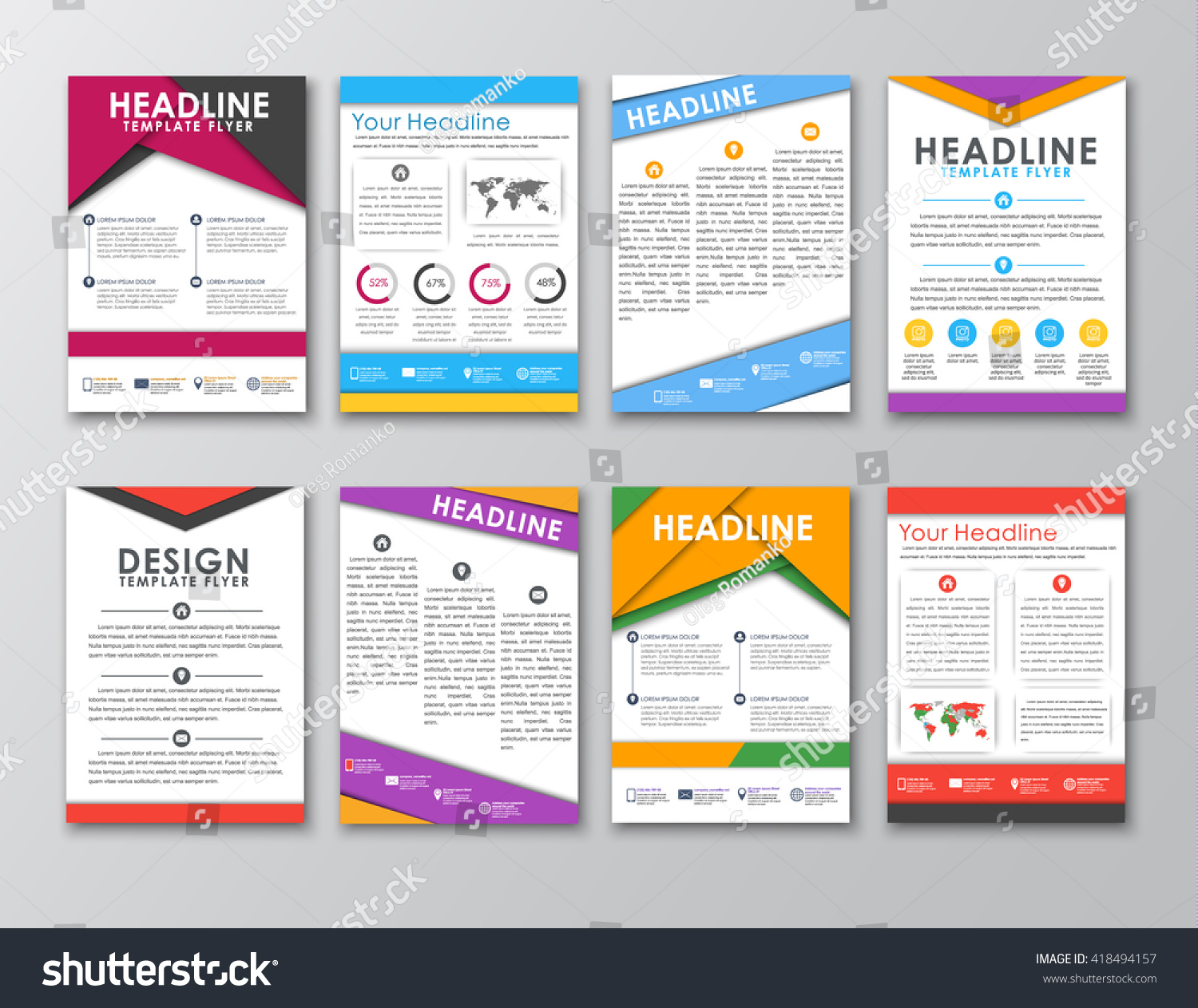 Big Set Flyers Brochures Posters Style Stock Vector Royalty Free