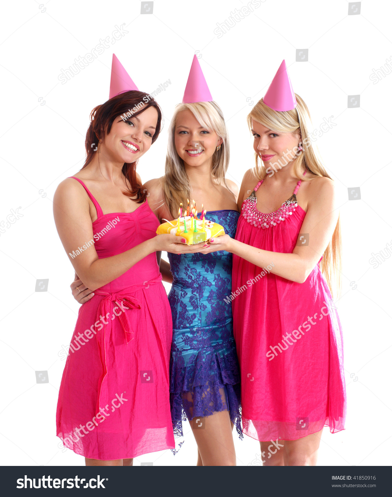 Group Young y Girls Celebrate Happy Stock
