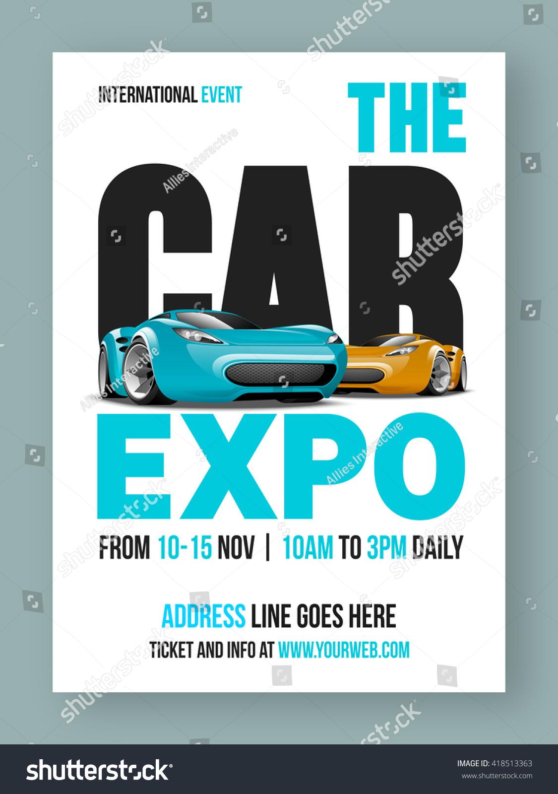Car Expo Template Banner Flyer Design Vectores En Stock 418513363 ...