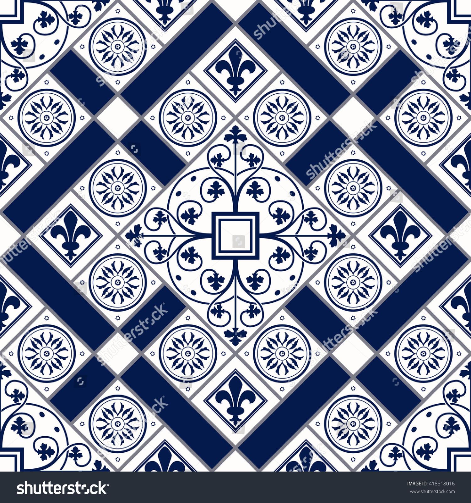 Vector of moroccan tile seamless pattern tile for design tile - Vector Of Moroccan Tile Seamless Pattern For Design Background Banner Spanish Element For
