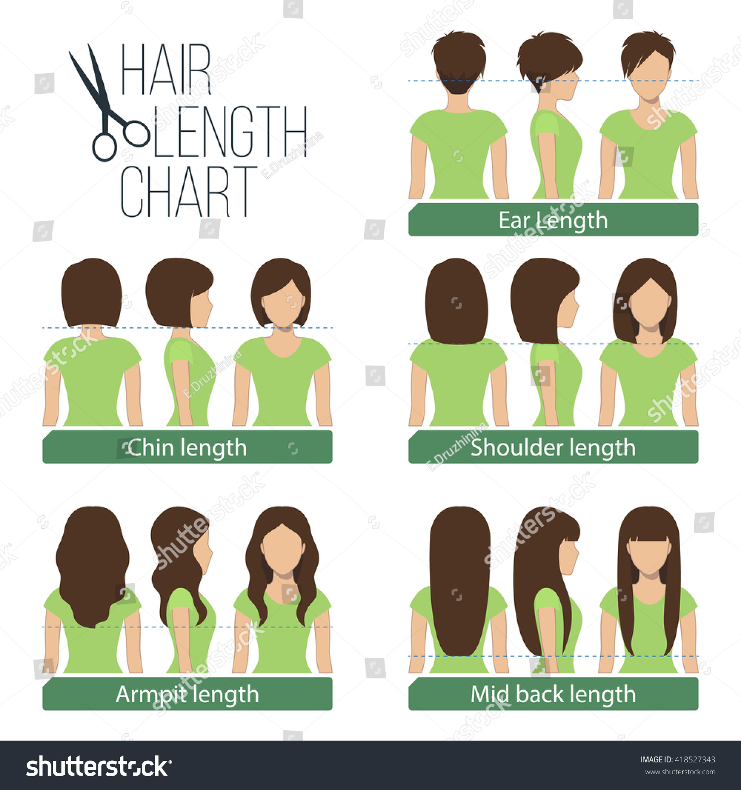 set different hair length haircuts hairstyles stock vector