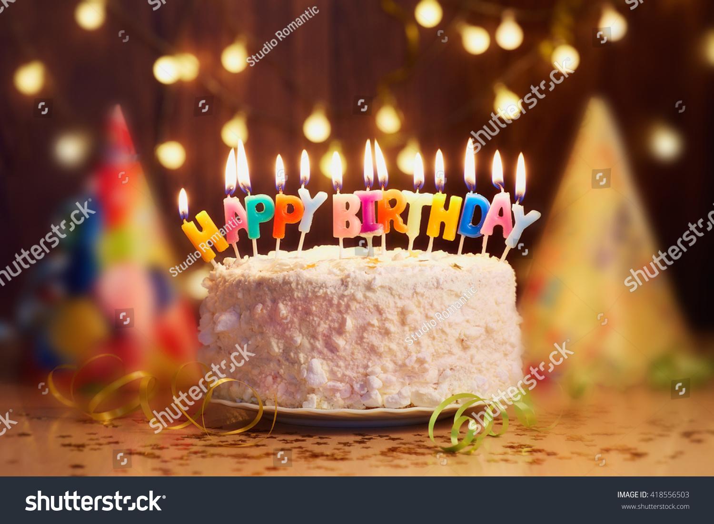 Birthday Cake Candles Bright Lights Bokeh Stock Photo 418556503