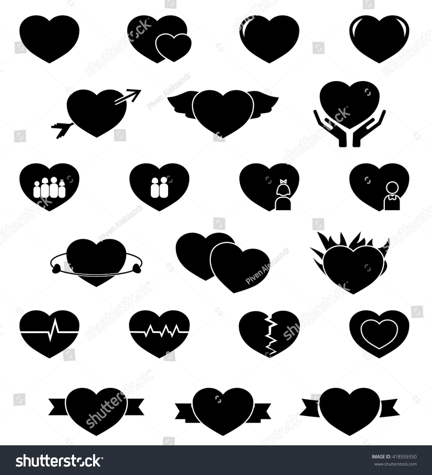 Set Hearts Black Vector Icons Heart 418559350