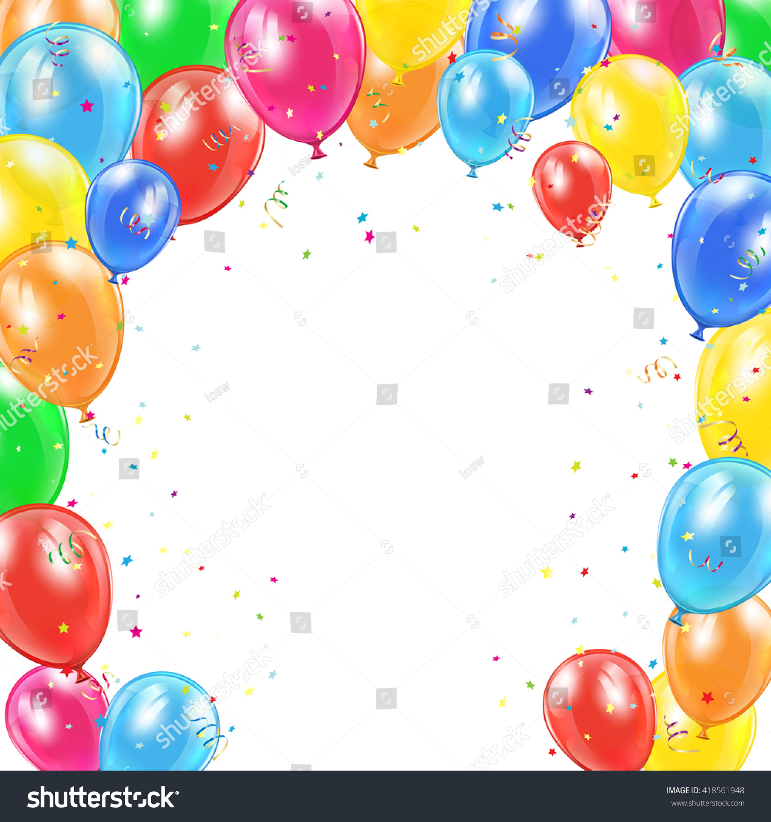 Happy Birthday Background Frame Flying Colorful Stock Vector 418561948 - Shutterstock