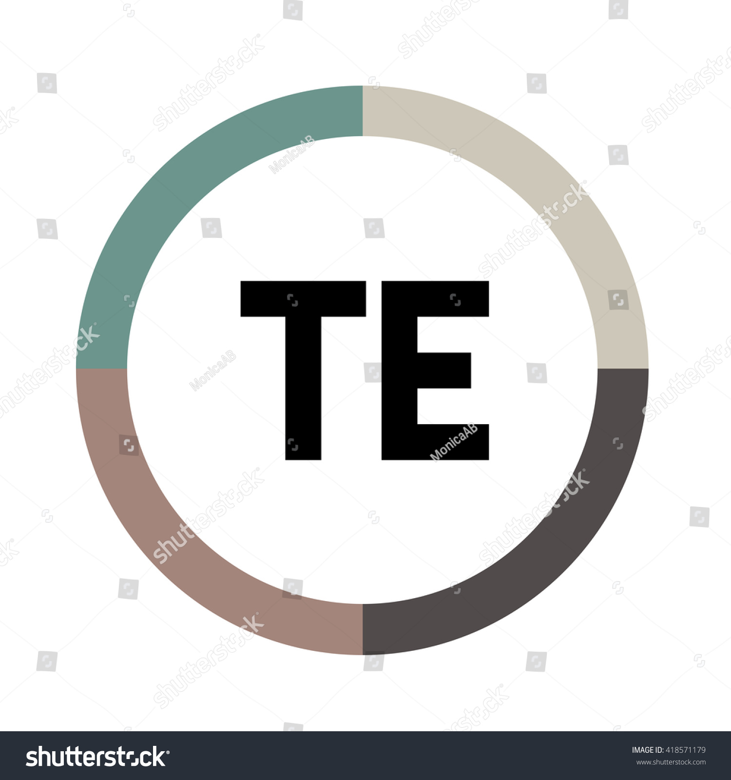 Te Letters Four Colors Abstract Background Stock Vector 418571179 ...